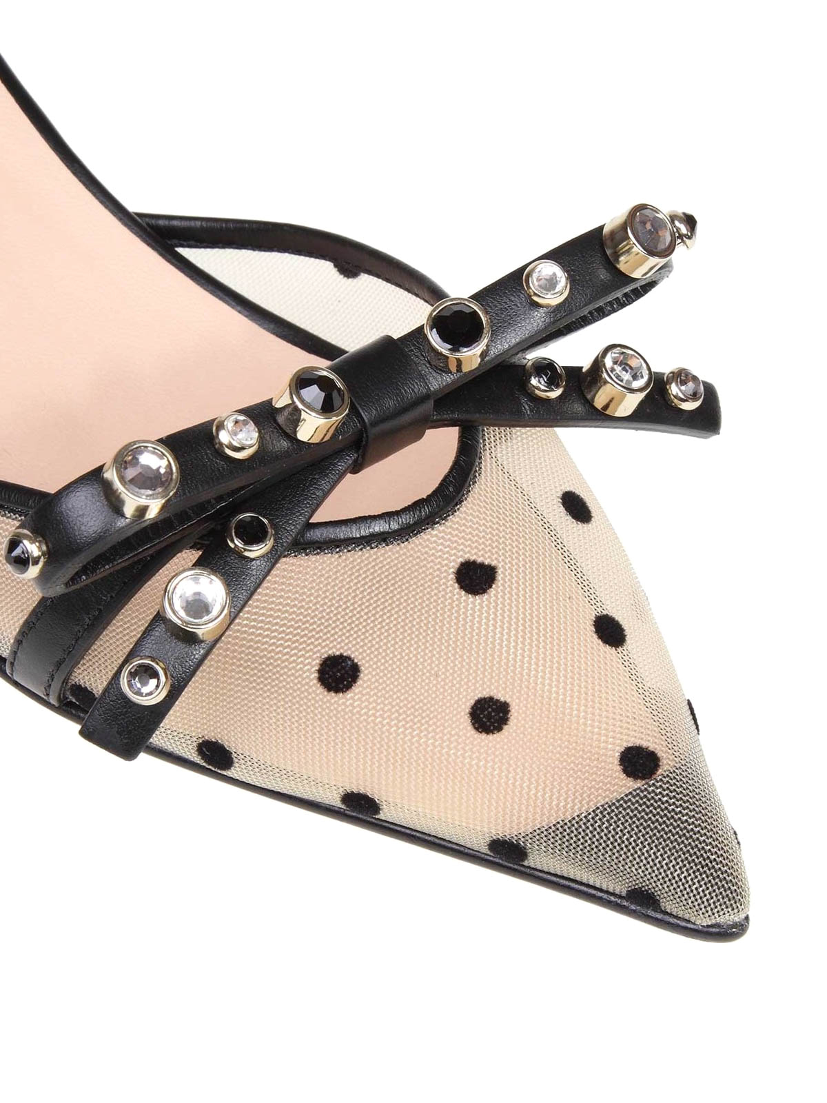 9cc1f19d819 iKRIX VALENTINO RED  court shoes - Nude and black polka dot leather  slingbacks