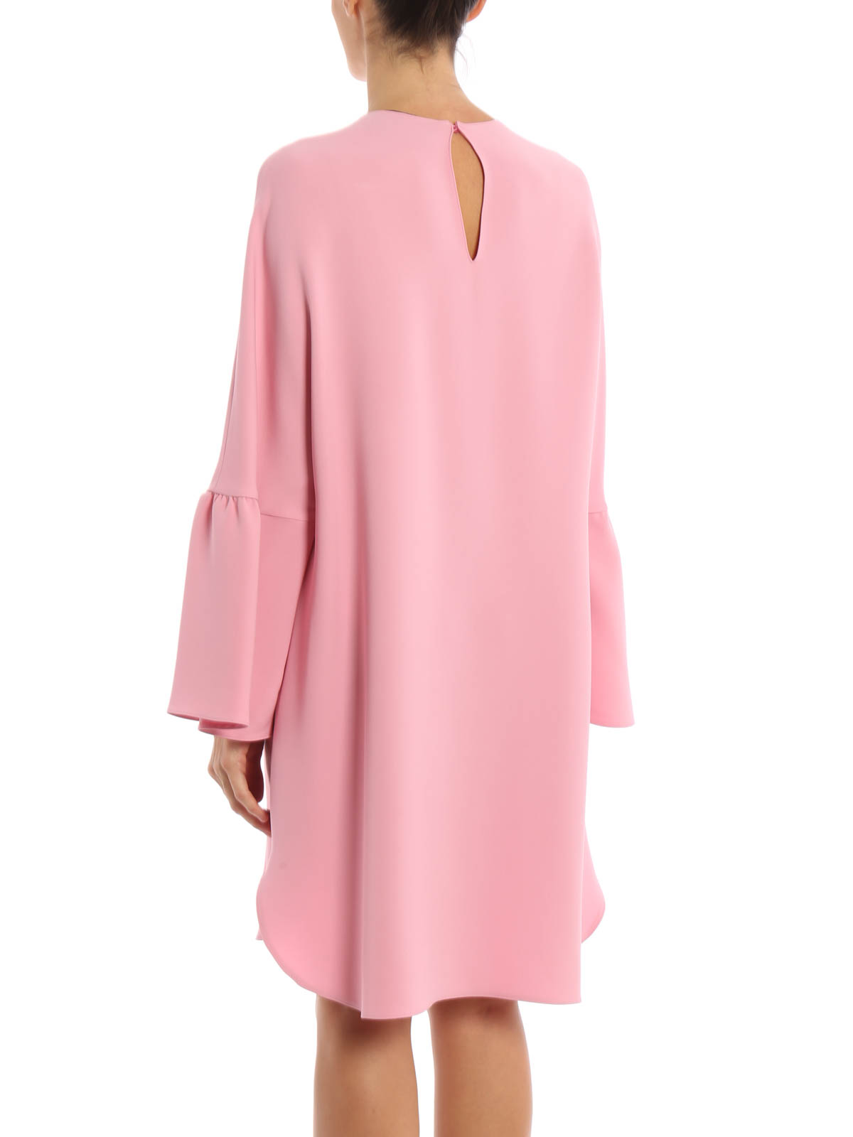 Bell-sleeve silk-crepe dress Valentino LHJWxXwz