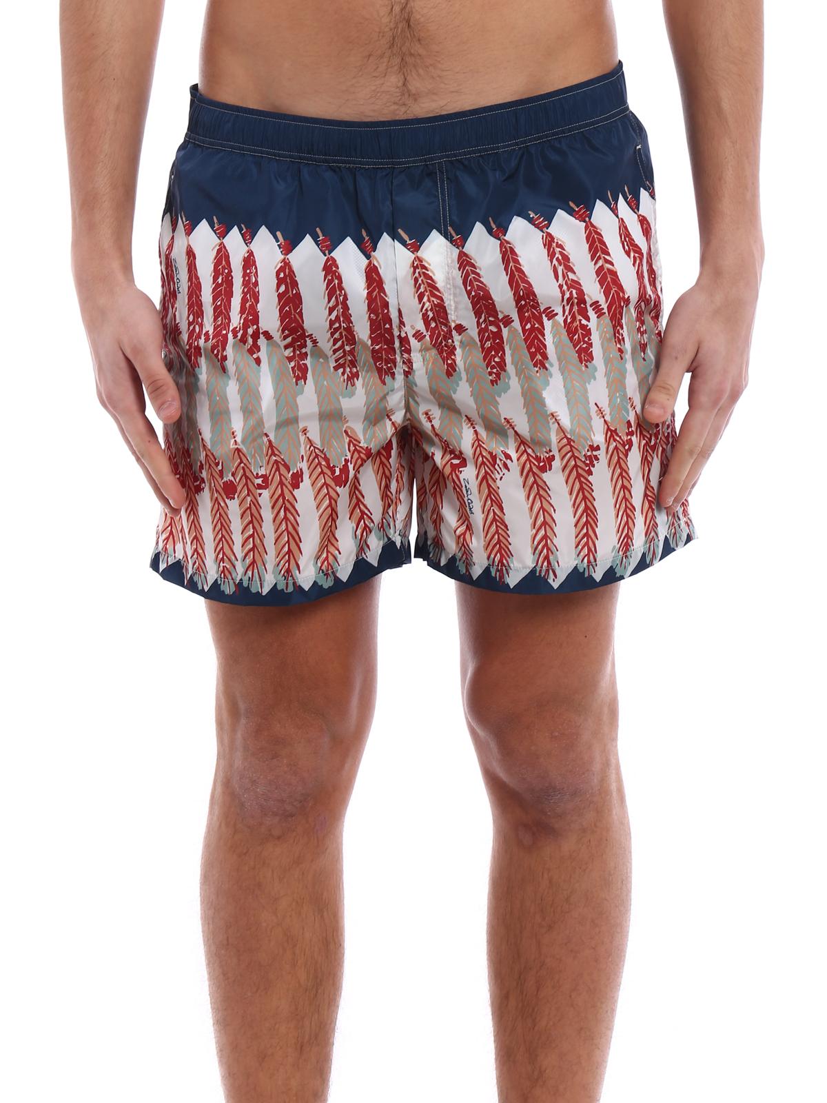 aabc3c03d6 iKRIX VALENTINO: Swim shorts & swimming trunks - Feather print blue swim  shorts