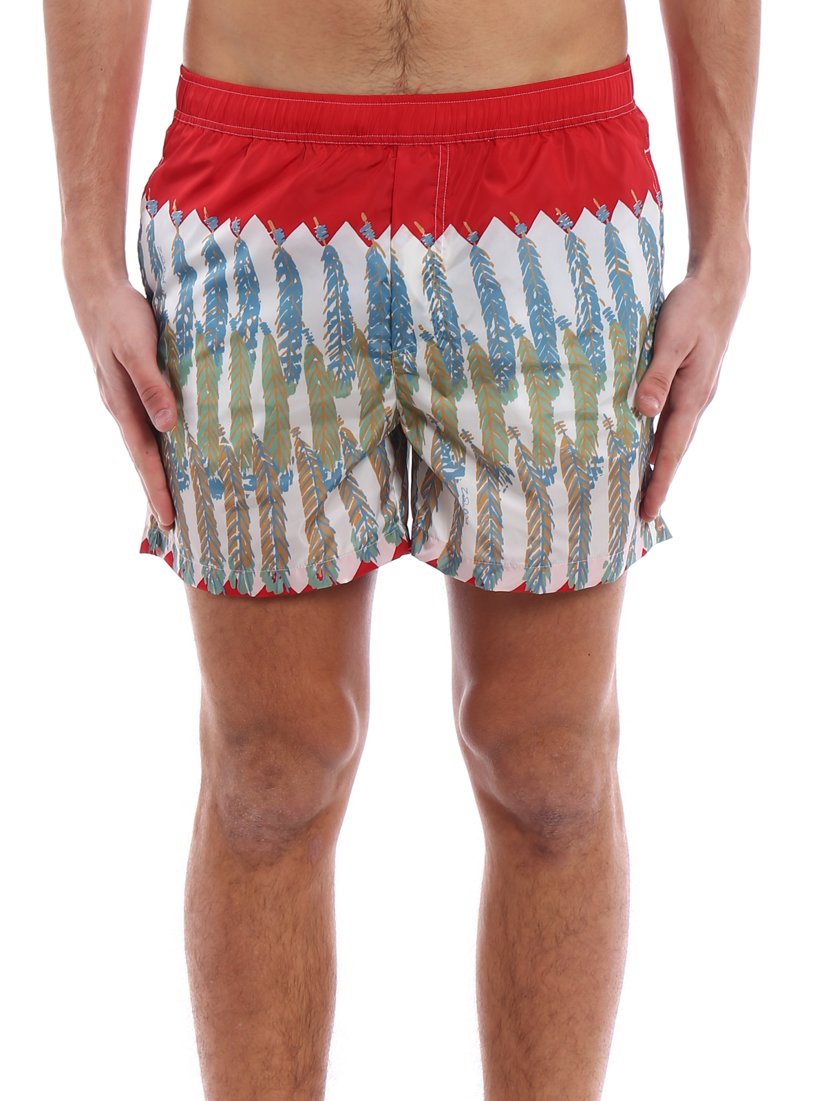 1601262298 iKRIX VALENTINO: Swim shorts & swimming trunks - Feather print red swim  shorts
