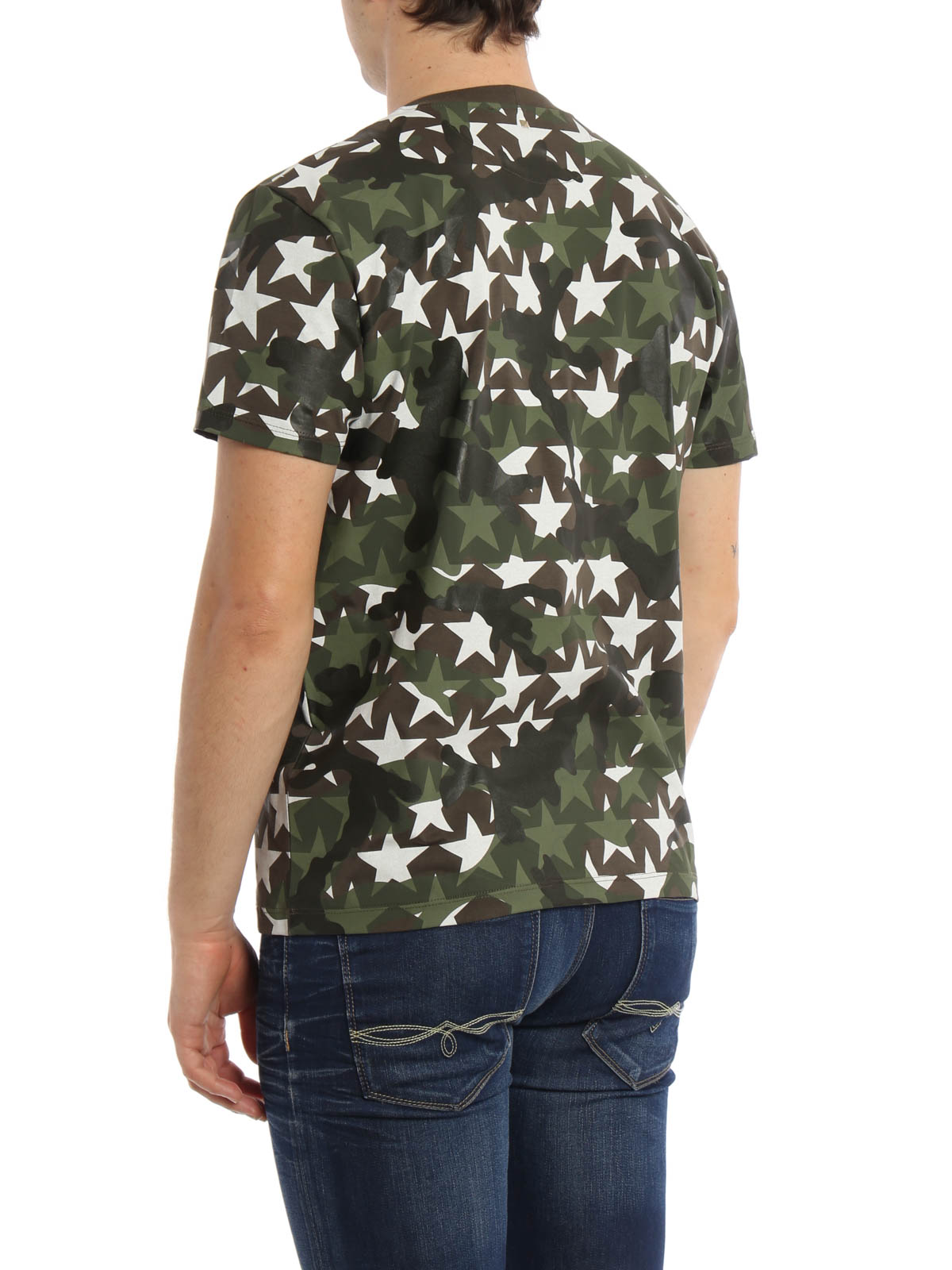 Studded camouflage-print cotton T-shirt Valentino Get To Buy Cheap Price ro0d70O1Na