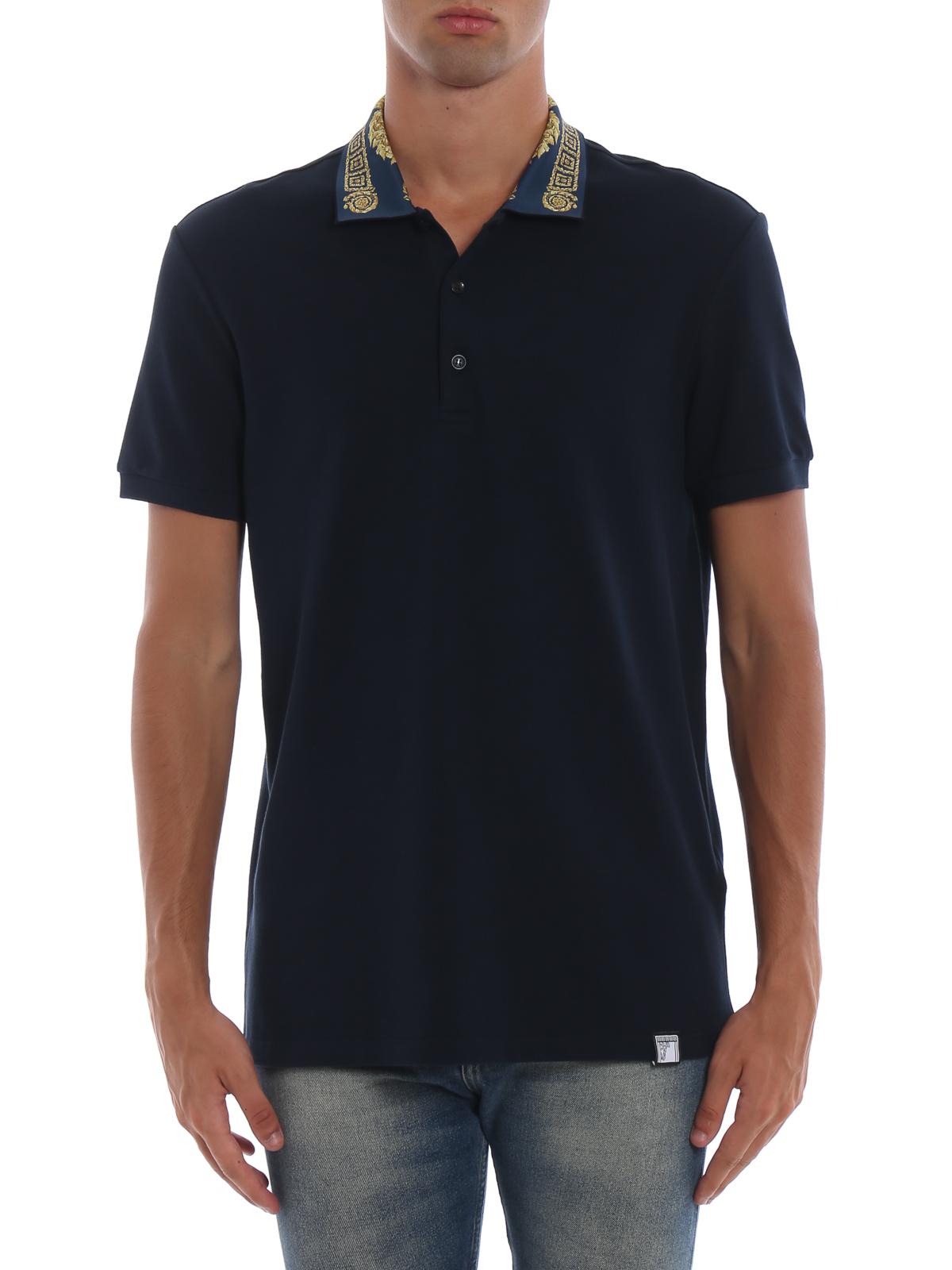 fc4b3f91e47 iKRIX VERSACE COLLECTION  polo shirts - Greek Key print collar blue polo  shirt