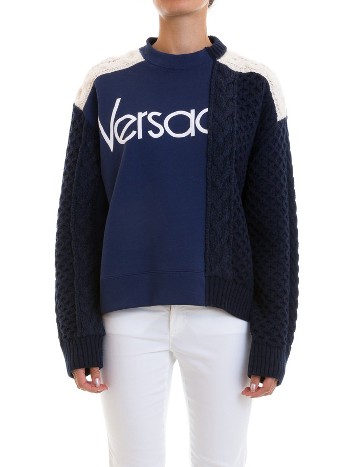 d840cd957117 Versace - Pull Col Rond - Bleu - Pull col rond - A80819 A226981 A1384
