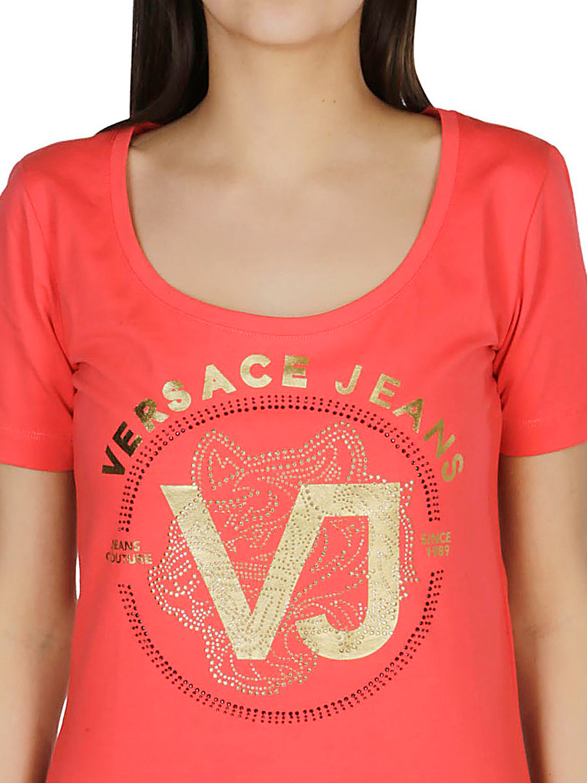 Big Kids Versace Kids Womens Short Sleeve Embellished Medusa Logo T-Shirt