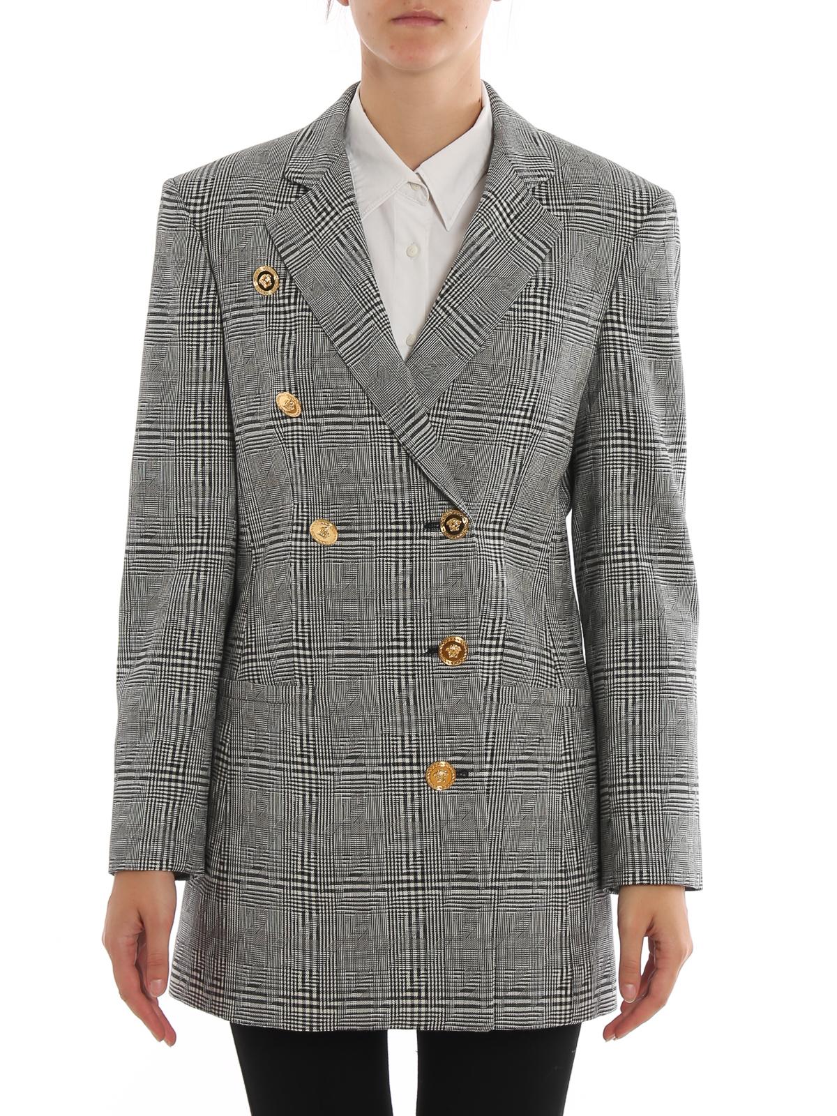 Cappotto corto pied de poule in lana