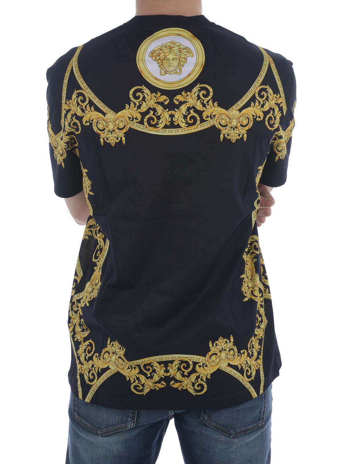 Versace - Baroque print cotton T-shirt - t-shirts ...