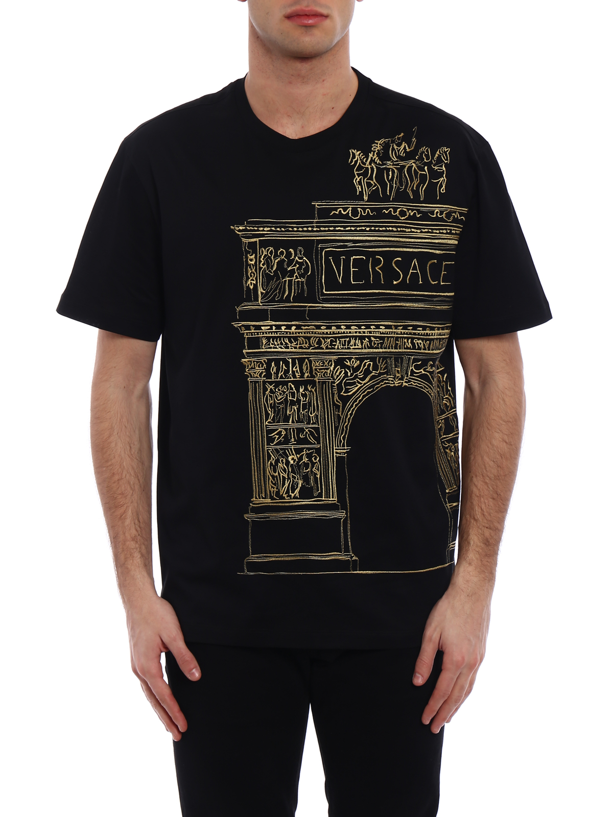 Ikrix versace t shirts pencil sketch embroidered black tee