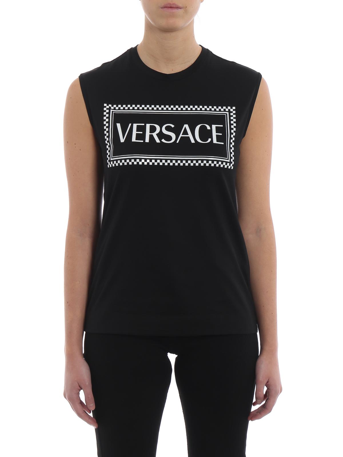 Top E Con Stampa In Canotta Versace Nera Cotone A Contrasto dxCBoeWr