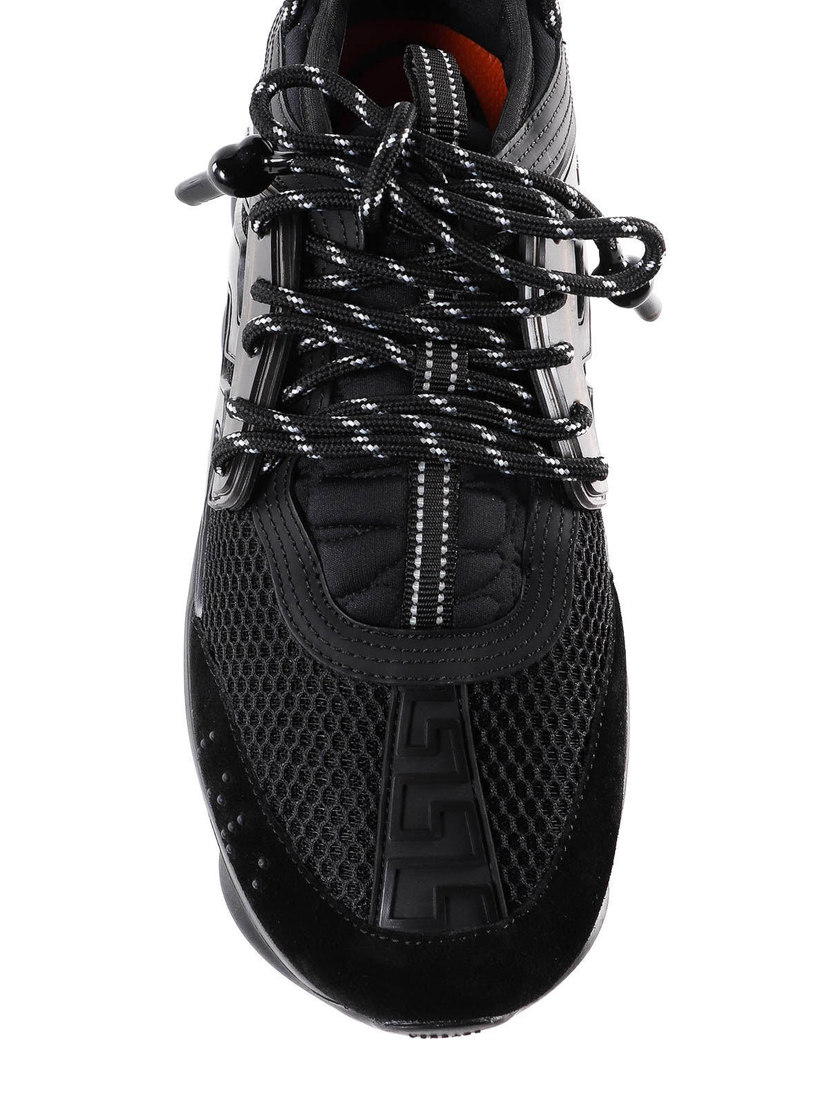 Versace - Sneaker Chain Reaction nere con suola alta ...