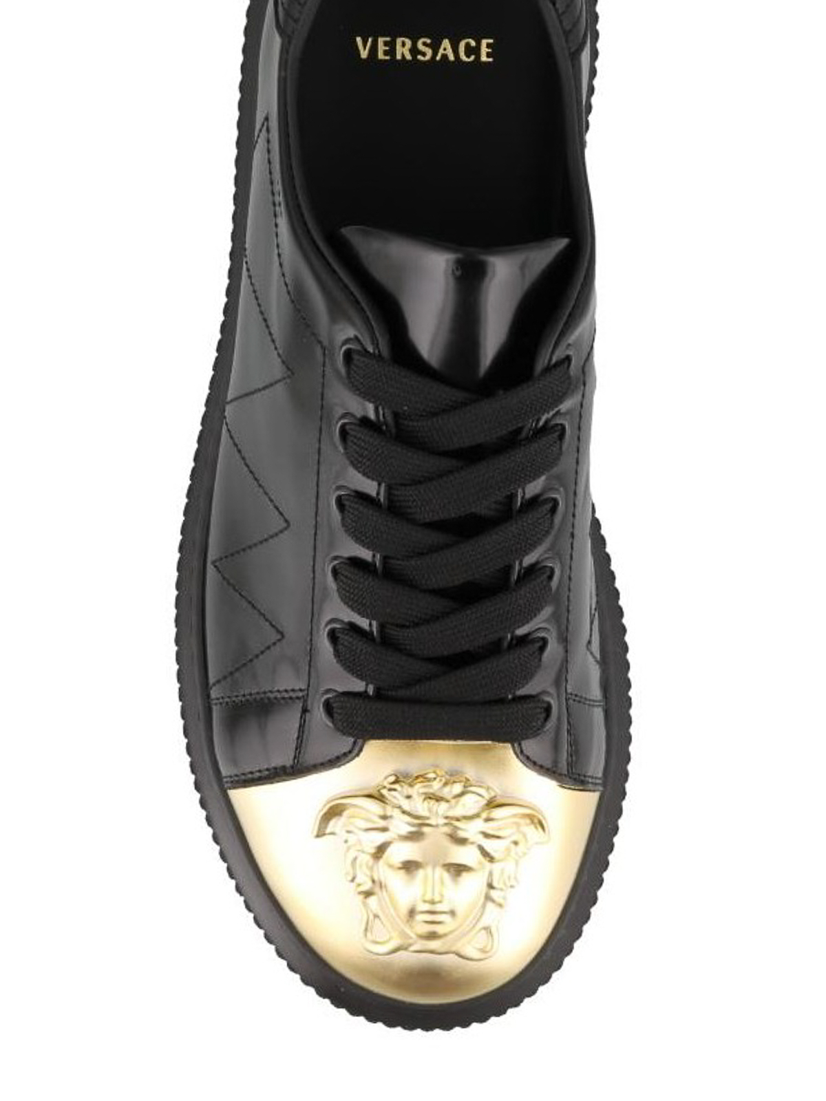Versace - Medusa black nappa sneakers with gold toe ...