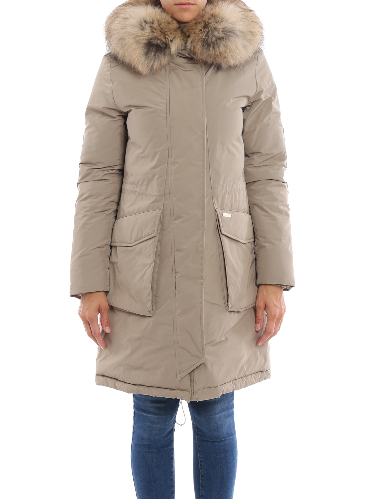 Woolrich Military Fur Trimmed Down Parka Padded Coats