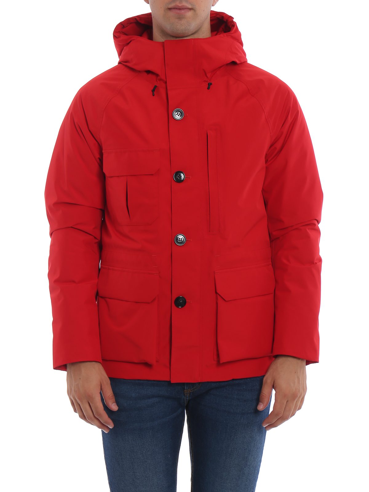 tessuto giacche Woolrich Goretex rosso in Giaccone Mountain x4RBn6C