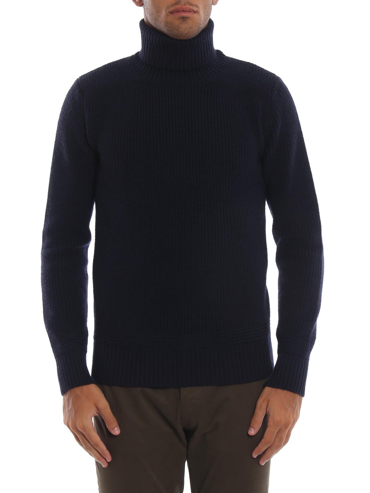 iKRIX WOOLRICH  maglia a collo alto e polo - Dolcevita blu in lana a coste 8ed3ee95ece4