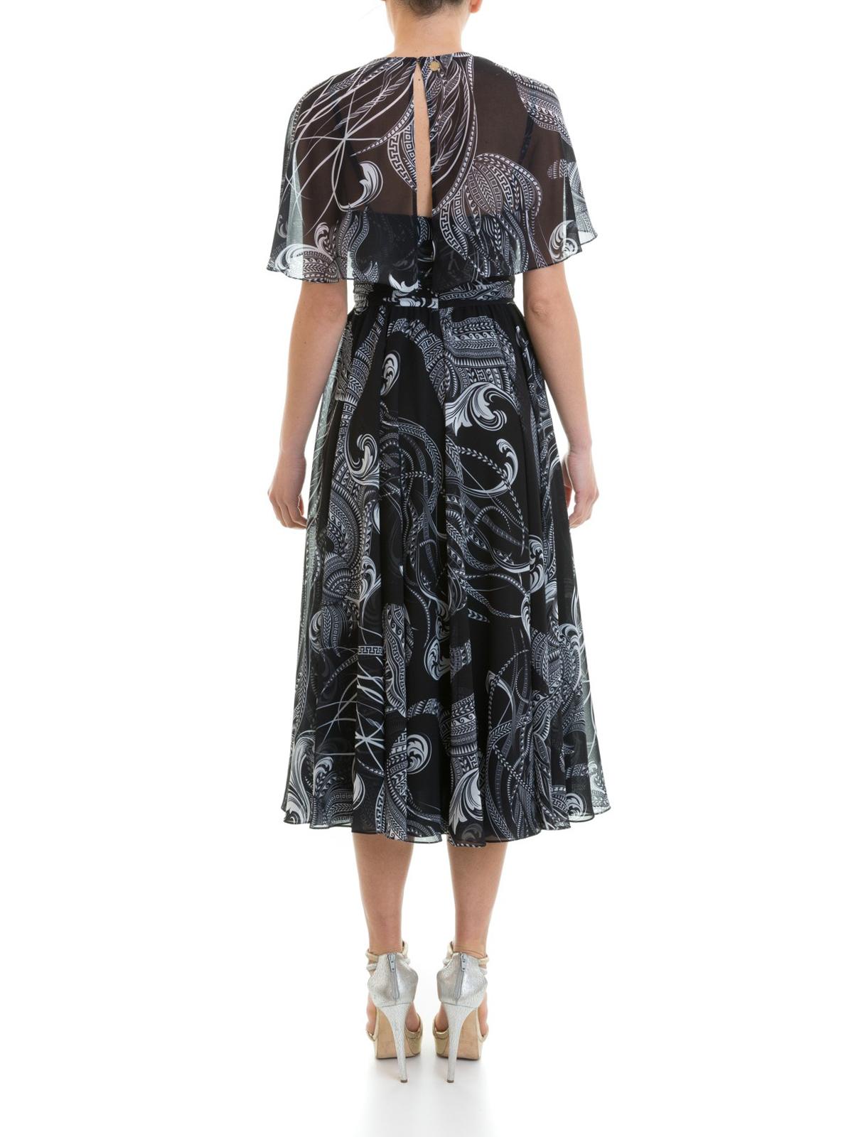 Midi Abito Abiti Collection Stampa Iconica Lunghi Versace Con 0OPknw