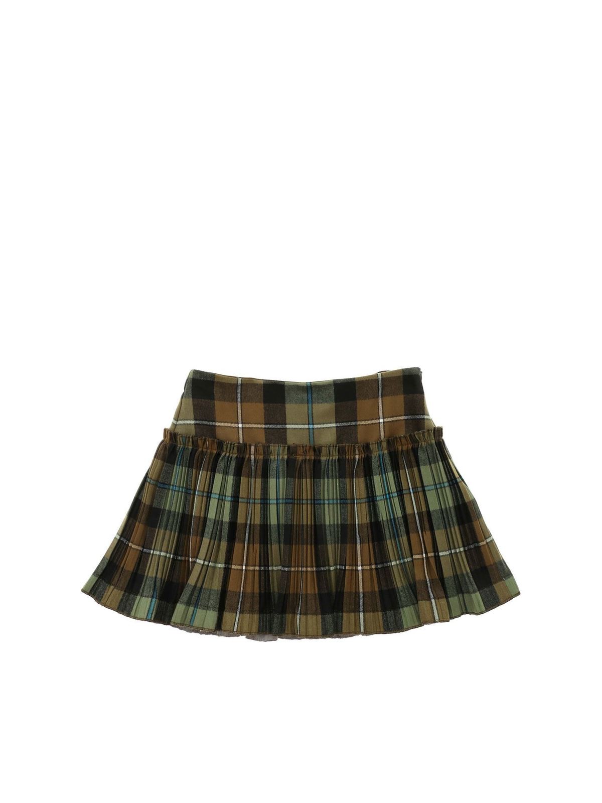 IL GUFO CHECK PRINTED SKIRT IN SHADES OF GREEN