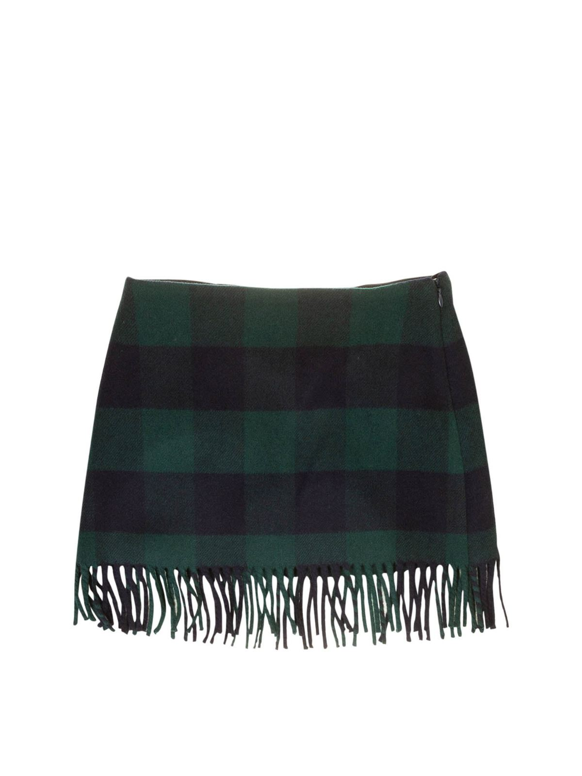 IL GUFO CHECK SKIRT IN BLUE AND GREEN