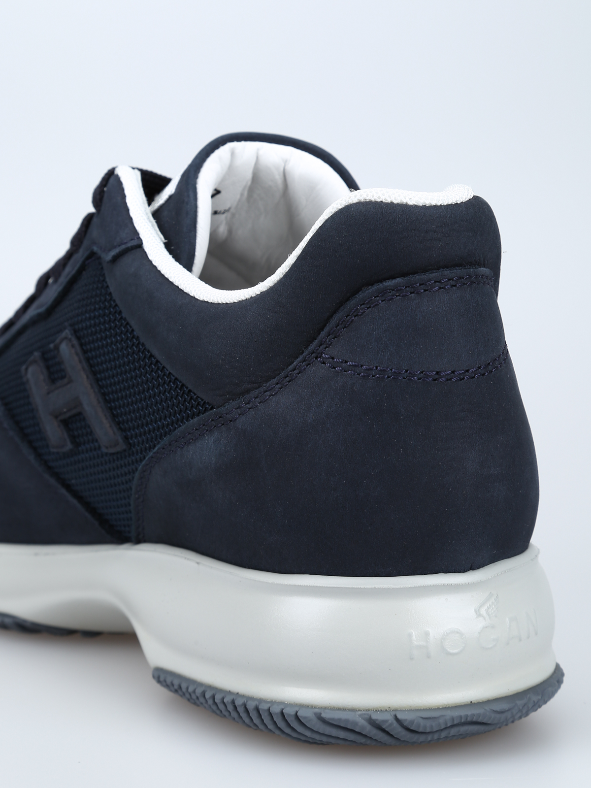Trainers Hogan - Interactive blue nubuck and fabric sneakers ...
