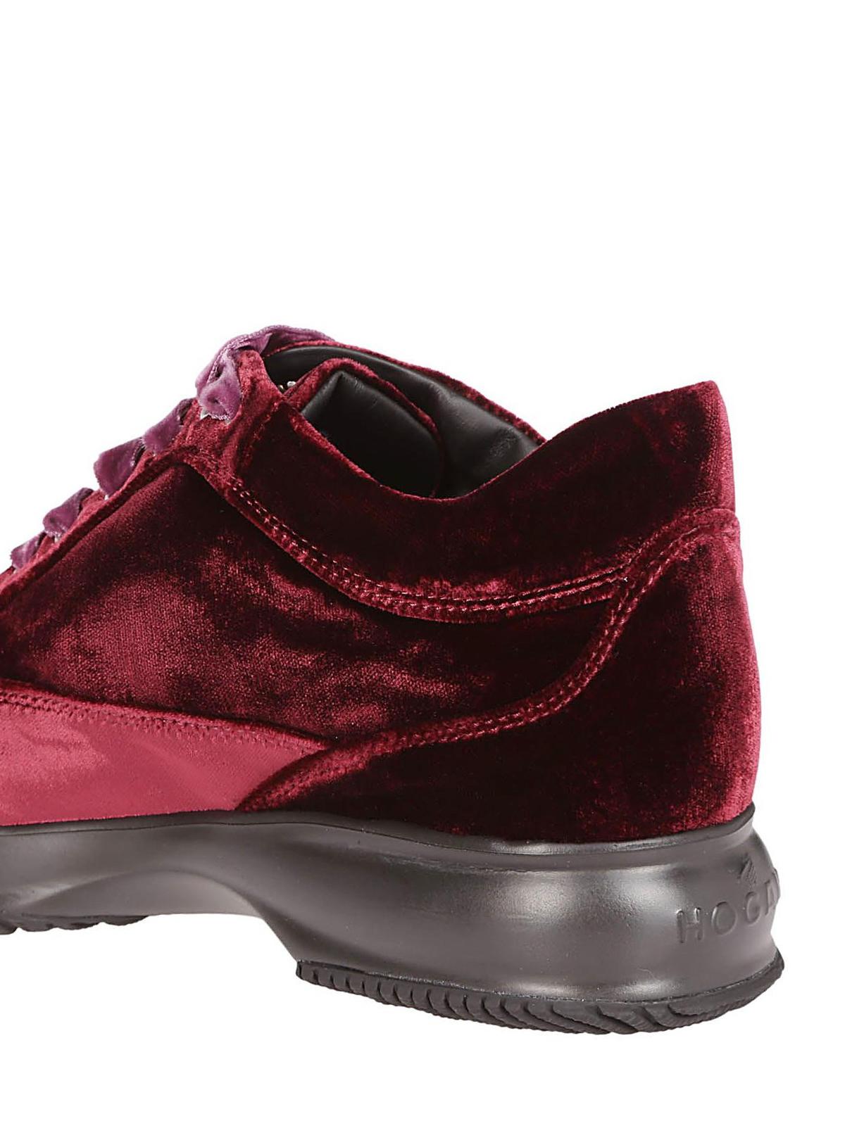 Sneakers Hogan - Interactive in velluto bordeaux con strass ...