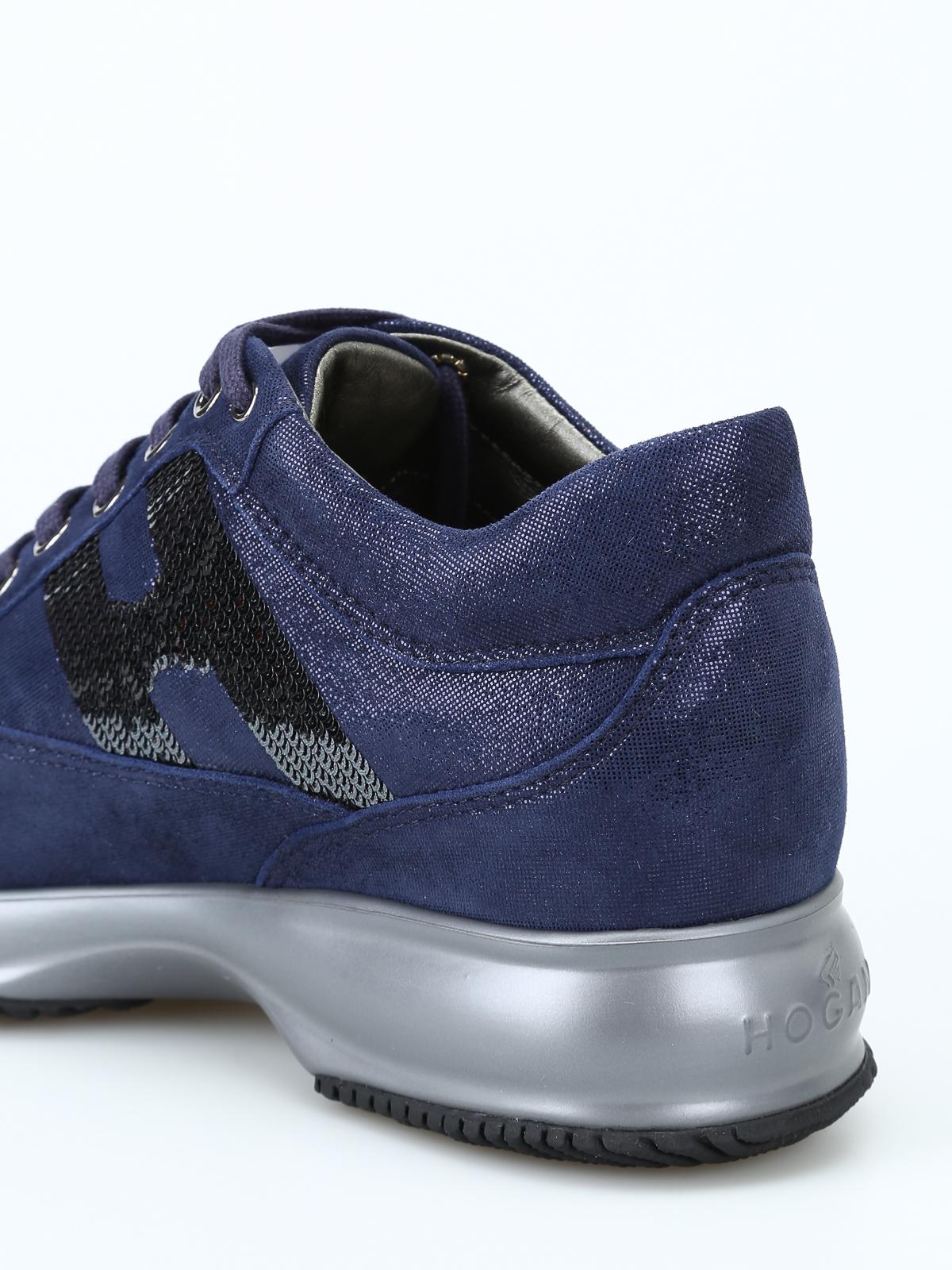 Sneakers Hogan - Interactive blu scamosciate con paillettes ...