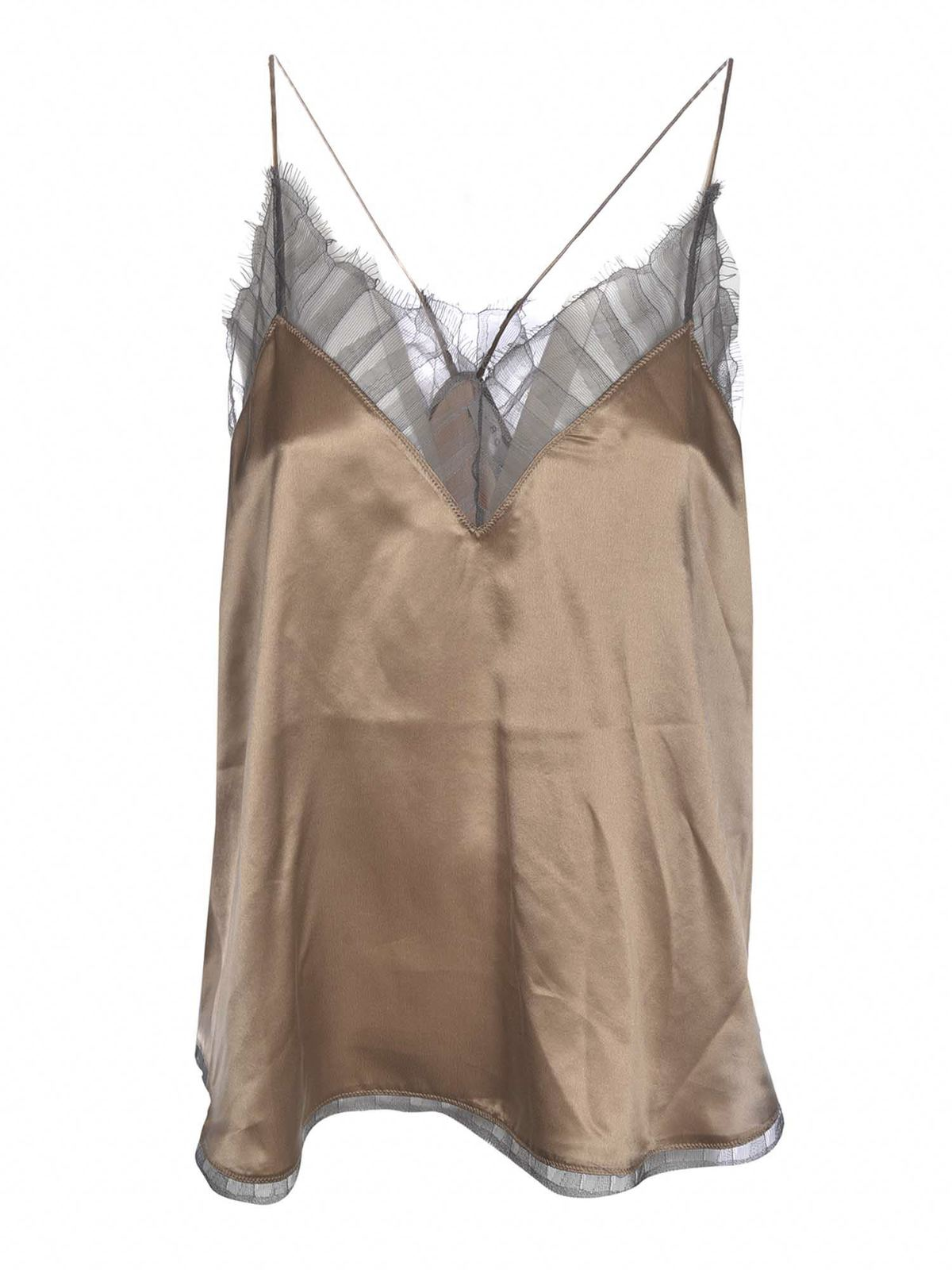Iro BERWYN TOP IN CAMEL AND GREY