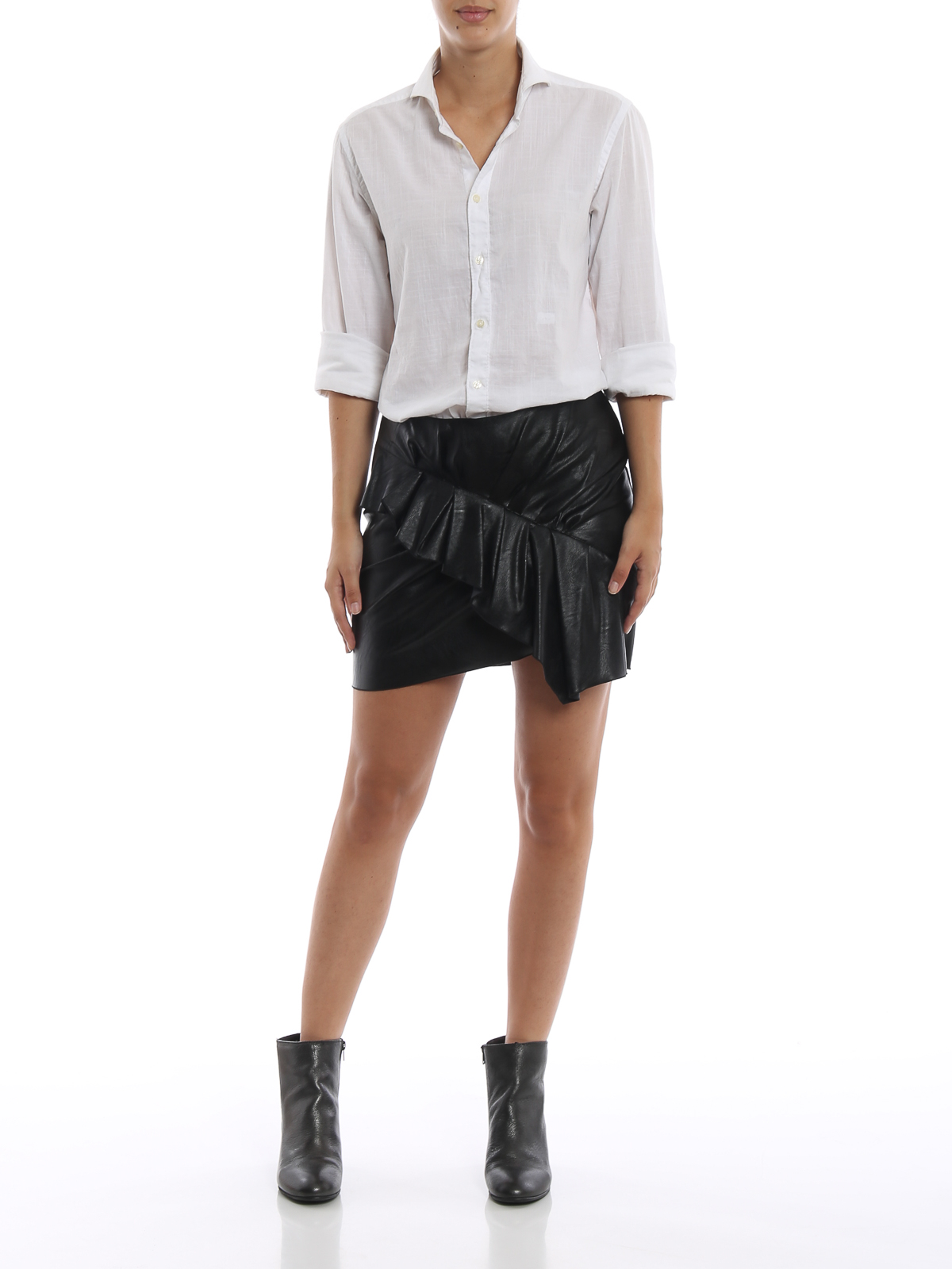 e6b434813af Isabel Marant Etoile: mini skirts online - Zeist ruffled faux leather mini  skirt
