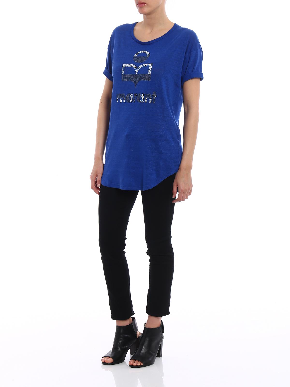 a4831c6d48c Isabel Marant Etoile: t-shirts online - Koldi blue linen printed T-shirt