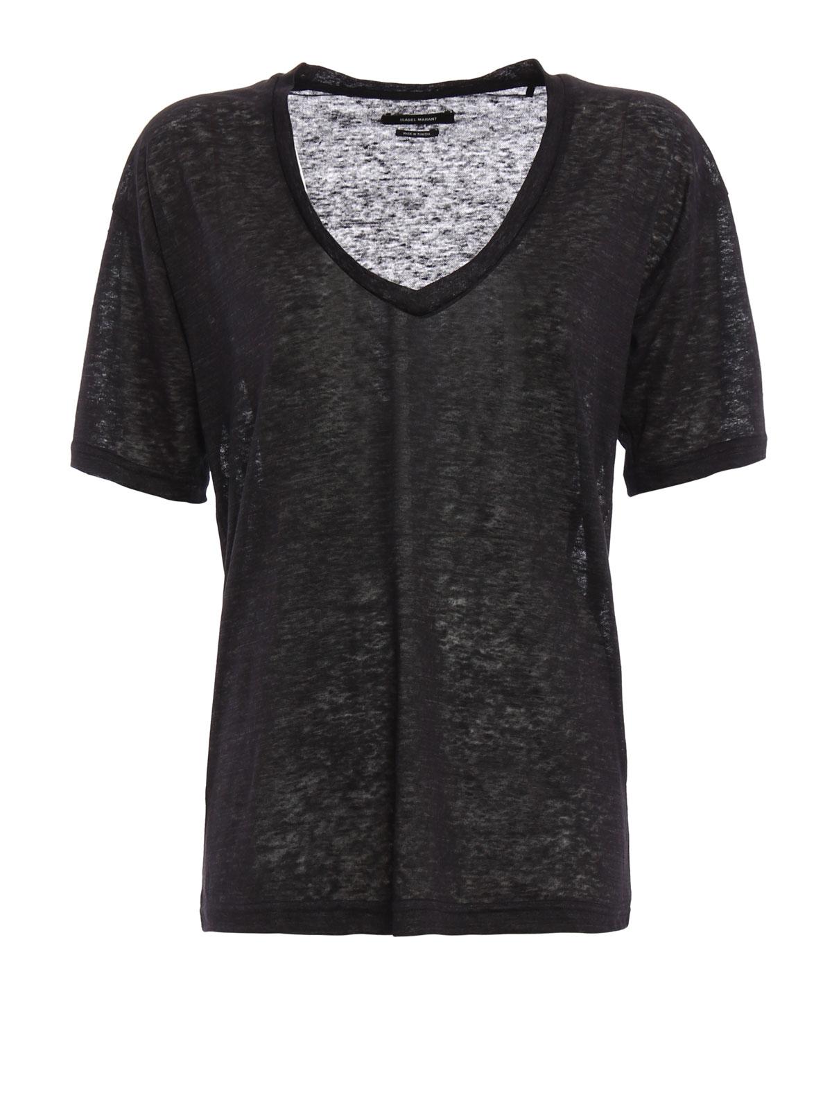 Isabel T Shirts Maree Marant Shirt 01bk 16p026i Linen Ts0308 rxthCQsd