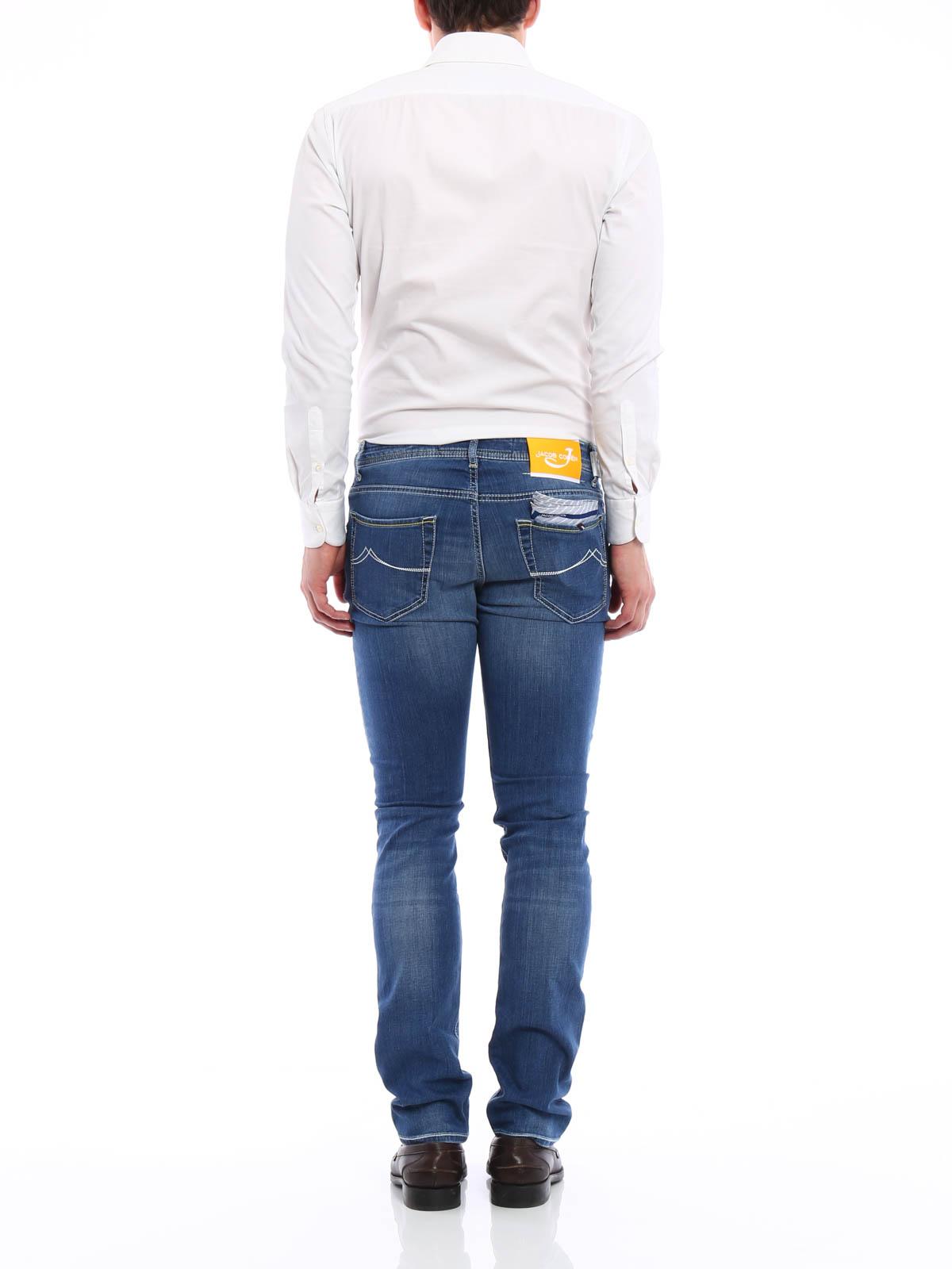 jeans sartoriali jacob cohen jeans dritti a sigaretta. Black Bedroom Furniture Sets. Home Design Ideas