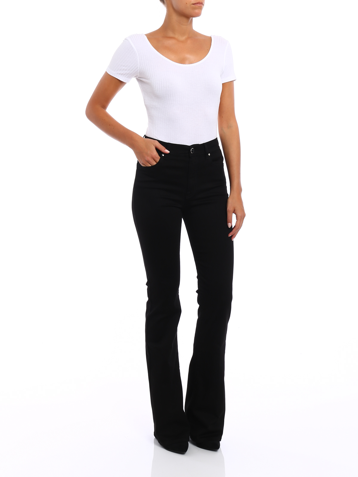 Jacob Cohen: bootcut jeans online - Linda high rise cotton jeans