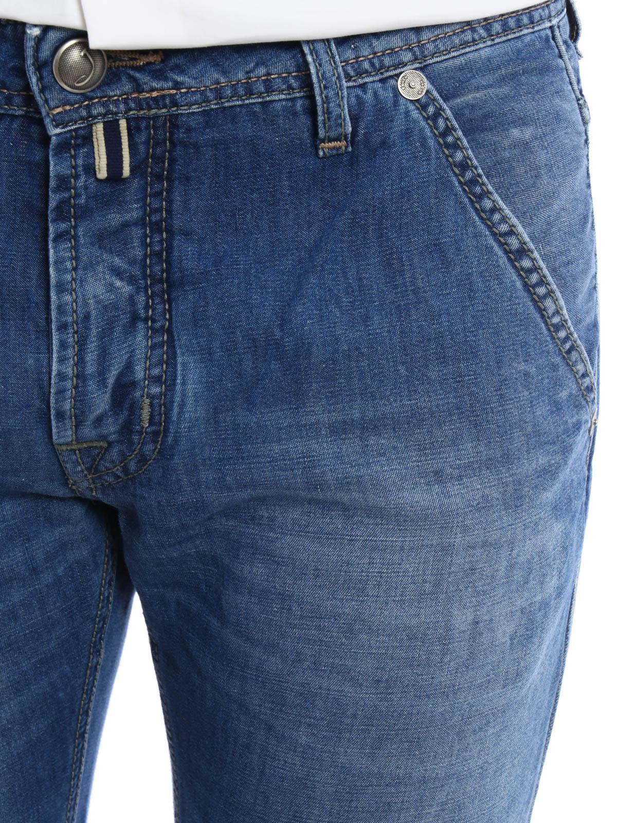 Pw613 cotton and linen jeans by jacob cohen straight leg - Jacob cohen denim ...