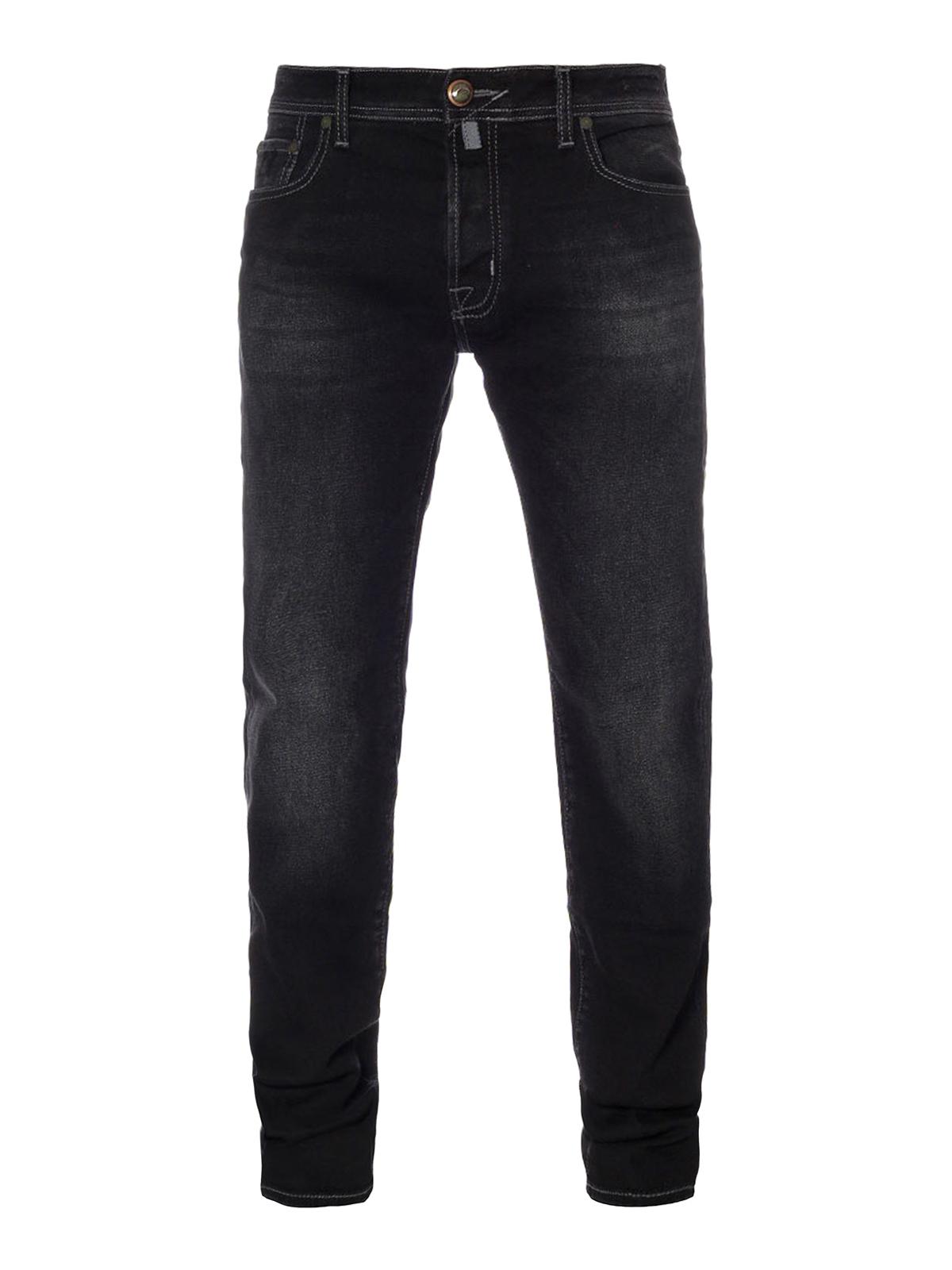 Faded black cotton denim jeans by jacob cohen straight - Jacob cohen denim ...