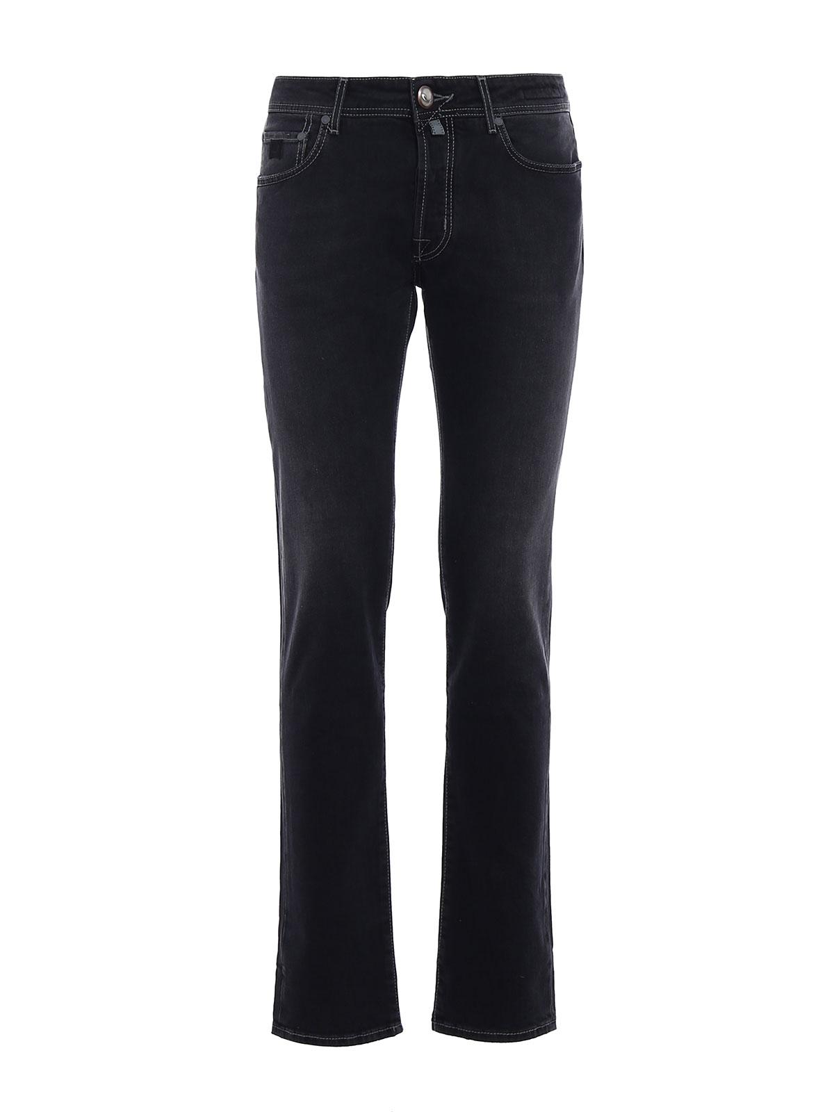 Faded black denim jeans by jacob cohen straight leg - Jacob cohen denim ...