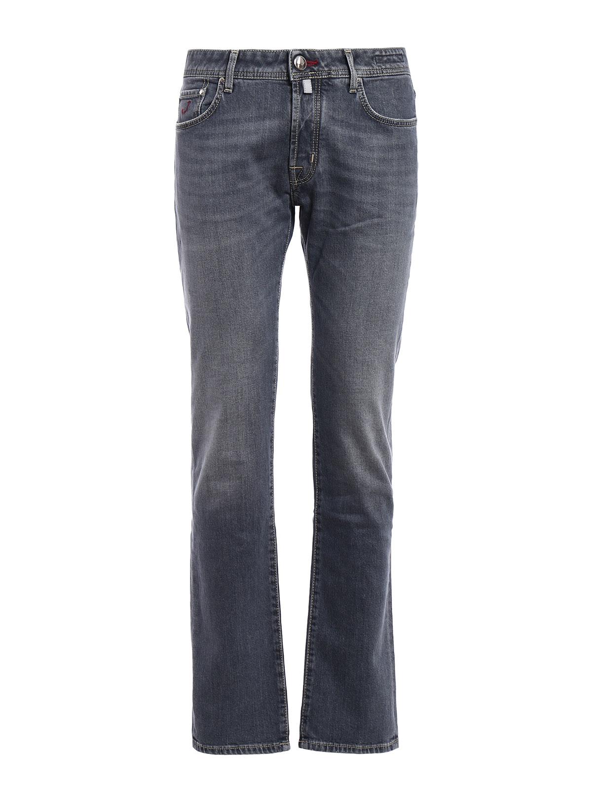 Faded grey denim jeans by jacob cohen straight leg jeans - Jacob cohen denim ...