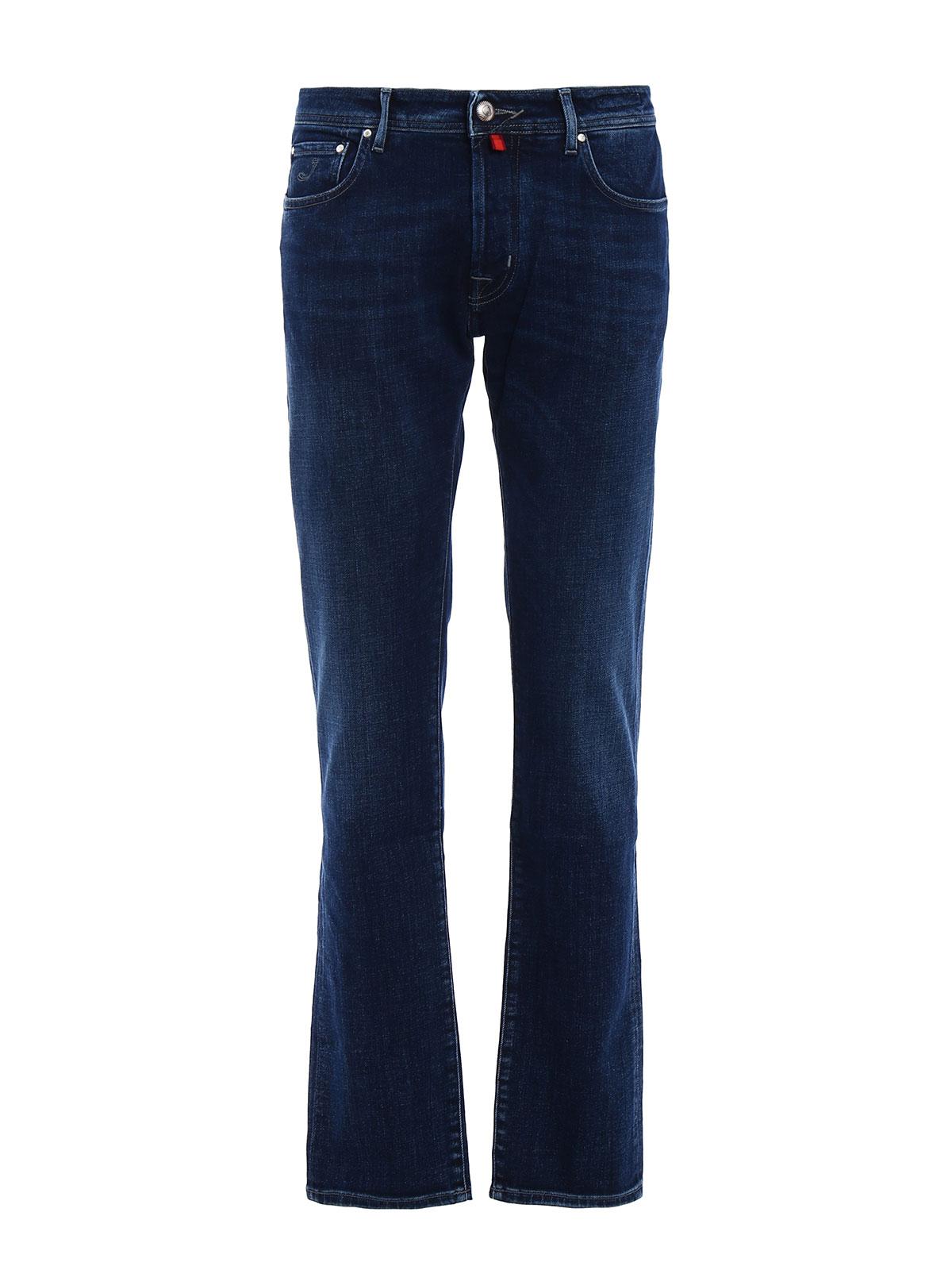 Faded stretch denim jeans by jacob cohen straight leg - Jacob cohen denim ...