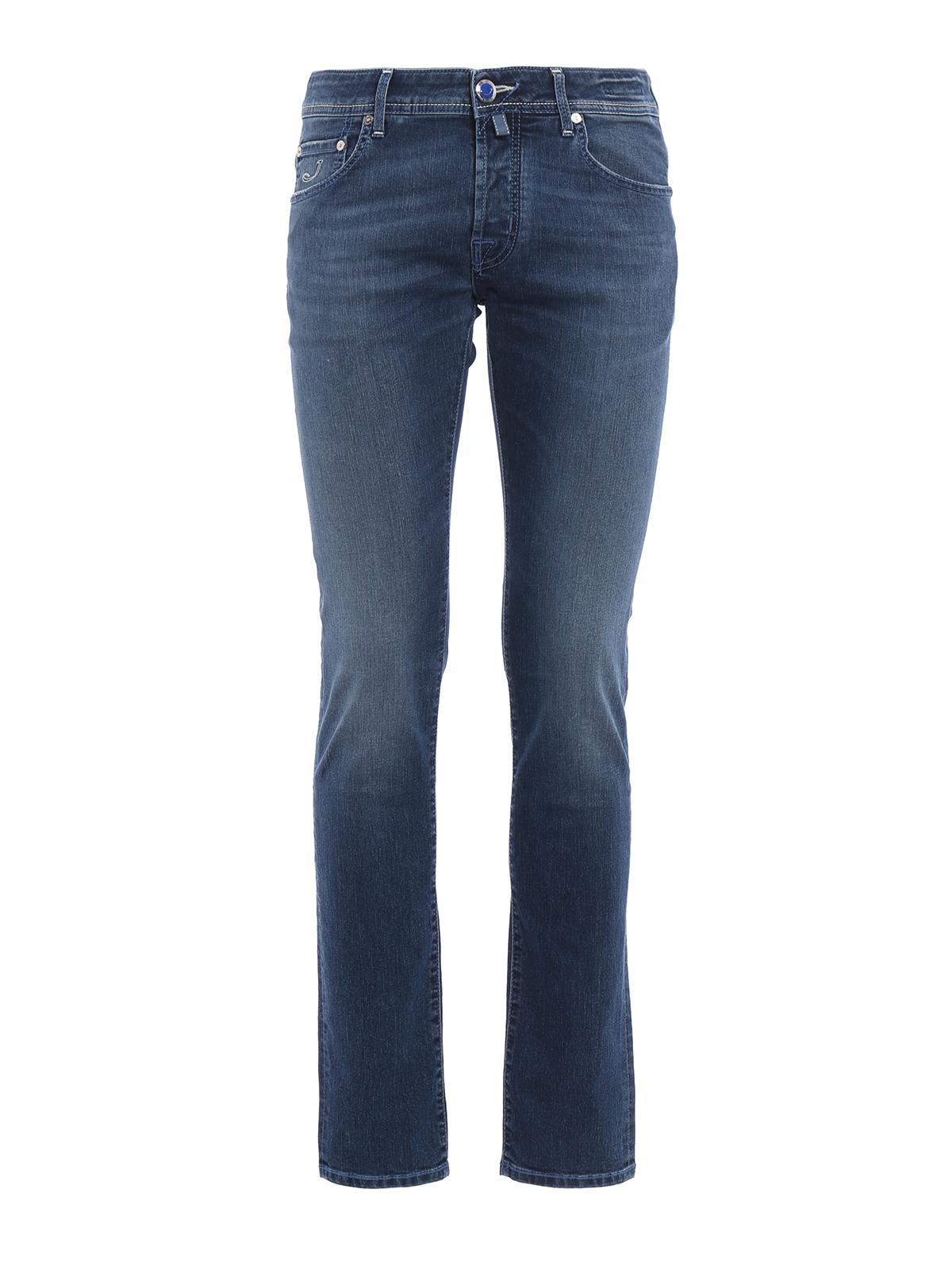 J622 dandelion print denim jeans by jacob cohen straight - Jacob cohen denim ...