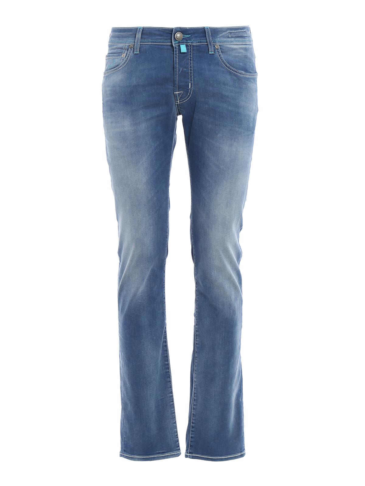 Pw622 light blue stitches jeans by jacob cohen straight - Jacob cohen denim ...