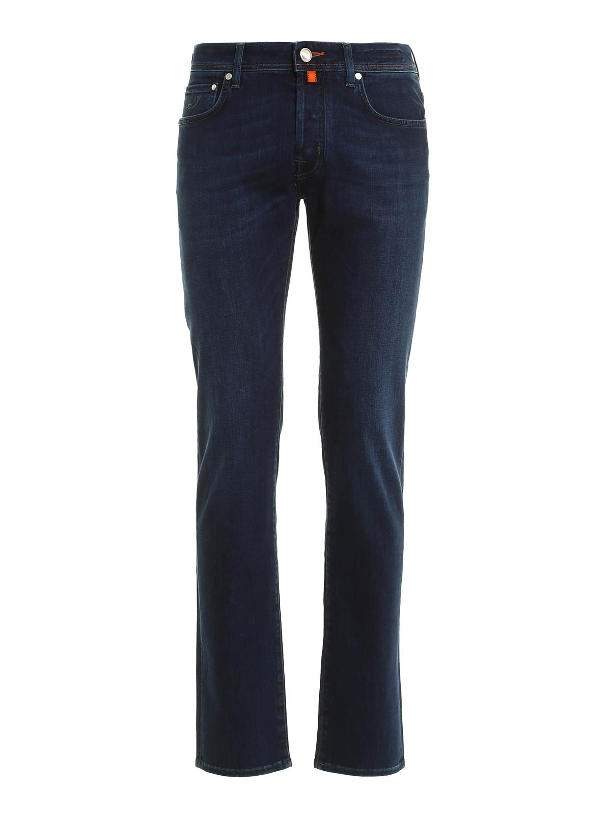 JACOB COHEN  Jeans à jambe droite - Jean Slim Foncé Délavé Pour Homme aeb33e856a51