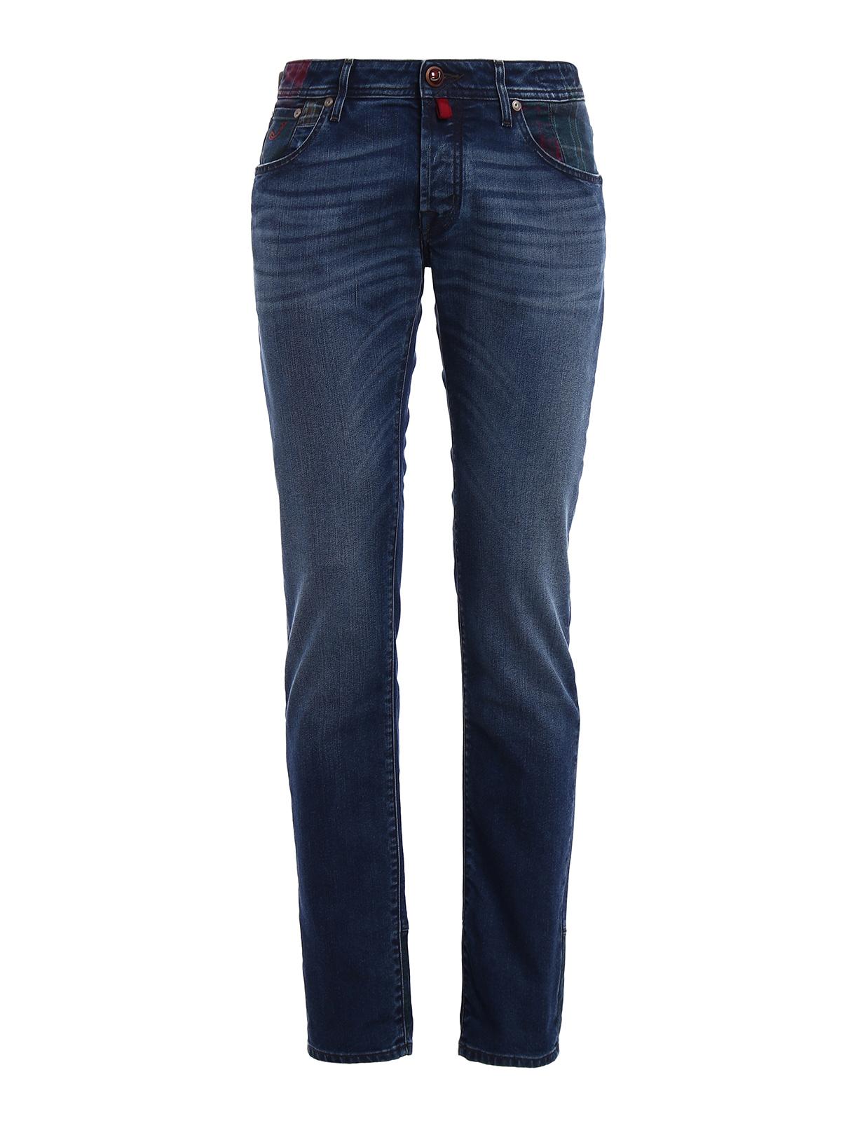 Tartan patch denim jeans by jacob cohen straight leg - Jacob cohen denim ...