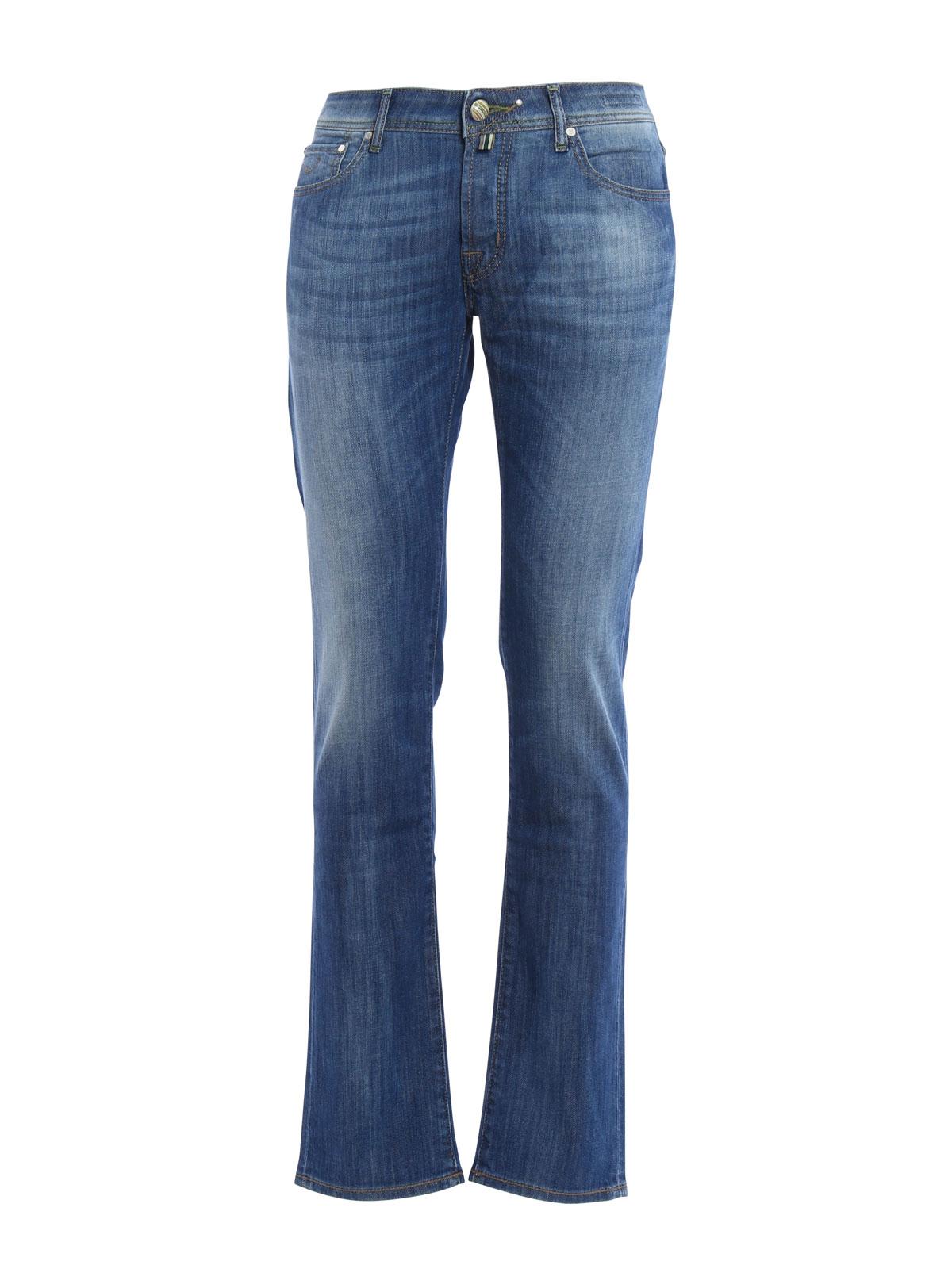 Washed tailored jeans by jacob cohen straight leg jeans - Jacob cohen denim ...