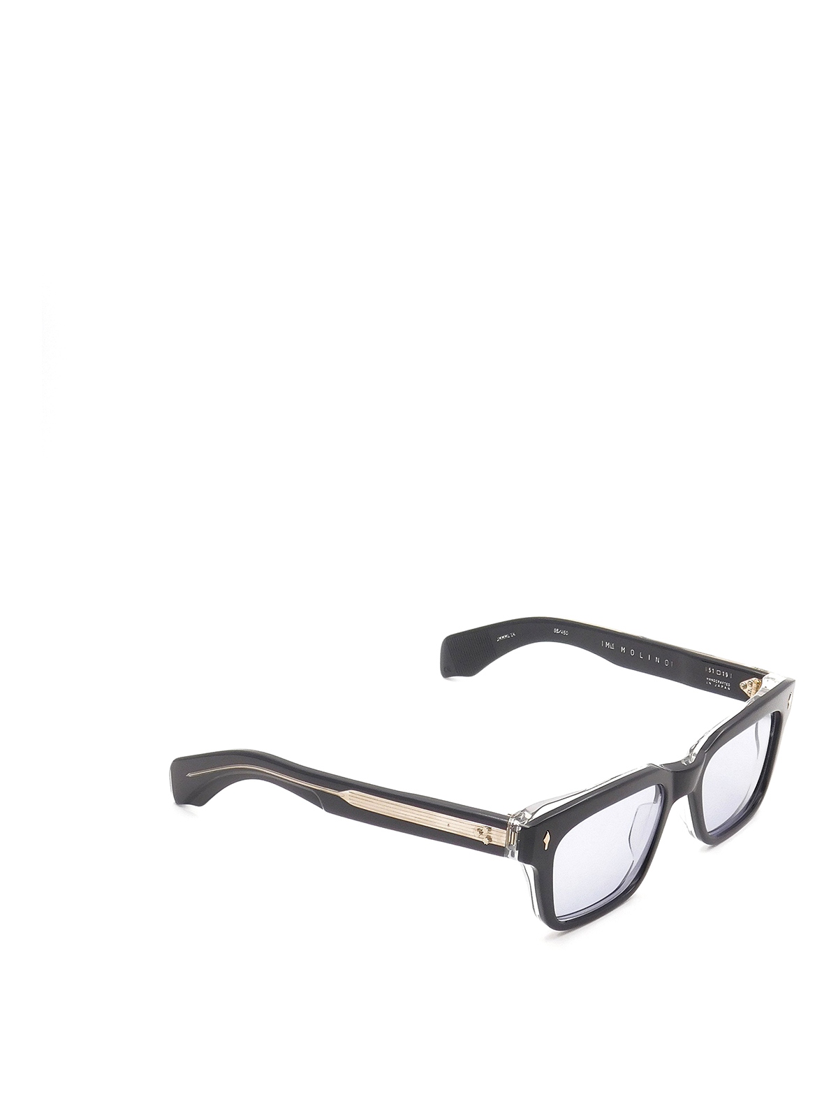 Jacques Marie Mage Blue Lenses Black And Gold Sunglasses