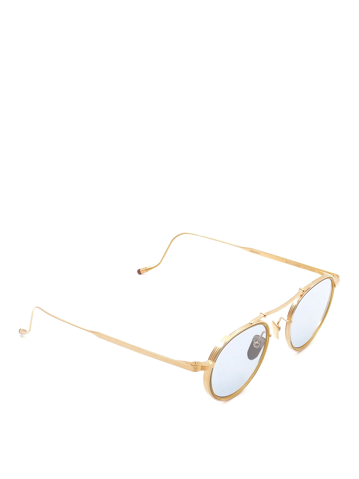 Jacques Marie Mage Blue Lenses Double Bridge Sunglasses In Gold