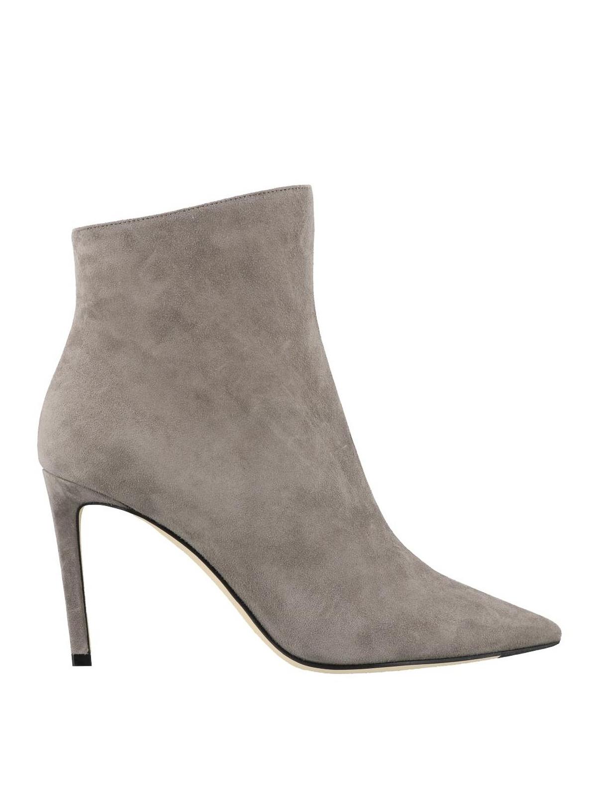 Helaine 85 grey suede heeled booties