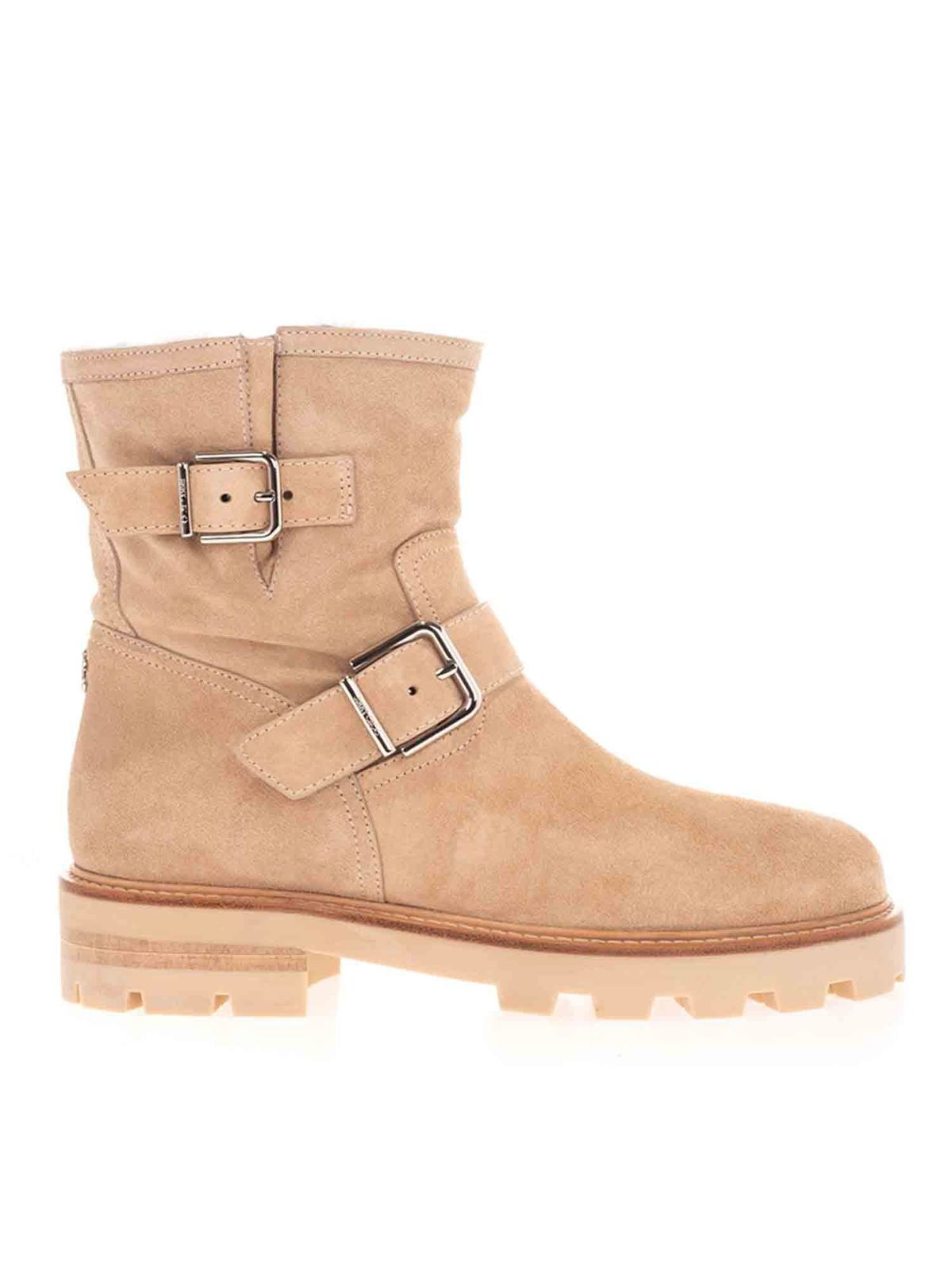 JIMMY CHOO YOUTH ANKLE BOOTS IN BEIGE