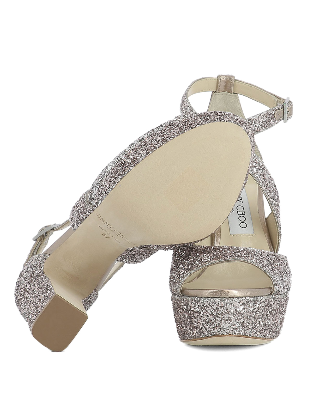 b27e216e4cf5 Jimmy Choo - April 120 glitter sandals - sandals - APRIL120XLCTEAROSE