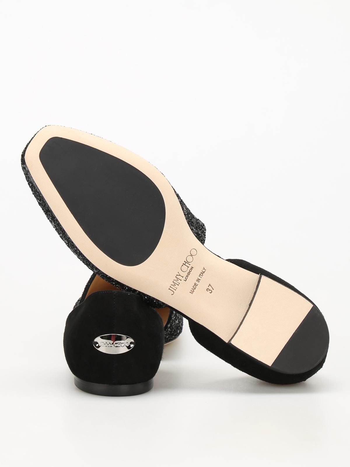 1b2d508d5365 Jimmy Choo - Globe Flat suede and glitter flats - flat shoes - GLOBE ...