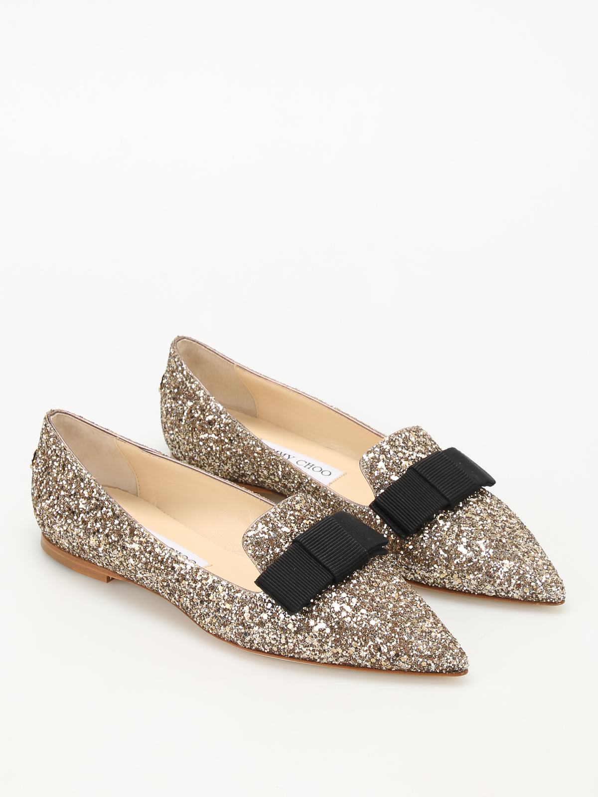 Jimmy Choo - Gala glittered flat shoes