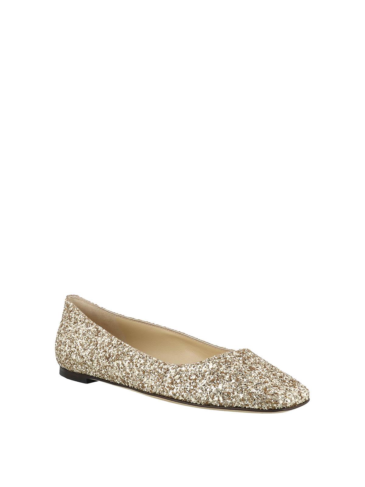 Jimmy Choo - Mirele Flat gold glitter flats - flat shoes -  MIRELEFLATWGBGOLDIE