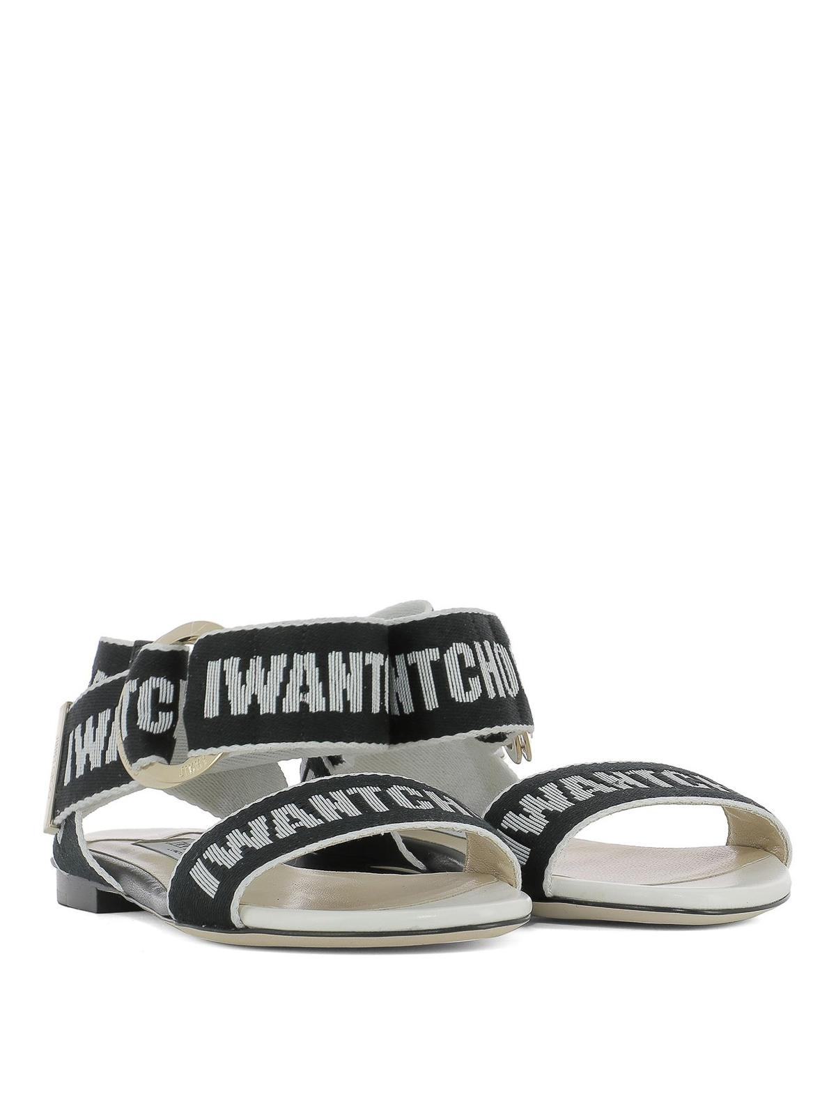 bb0a80e8b1a JIMMY CHOO  sandals online - Breanne black and chalk logo tape sandals