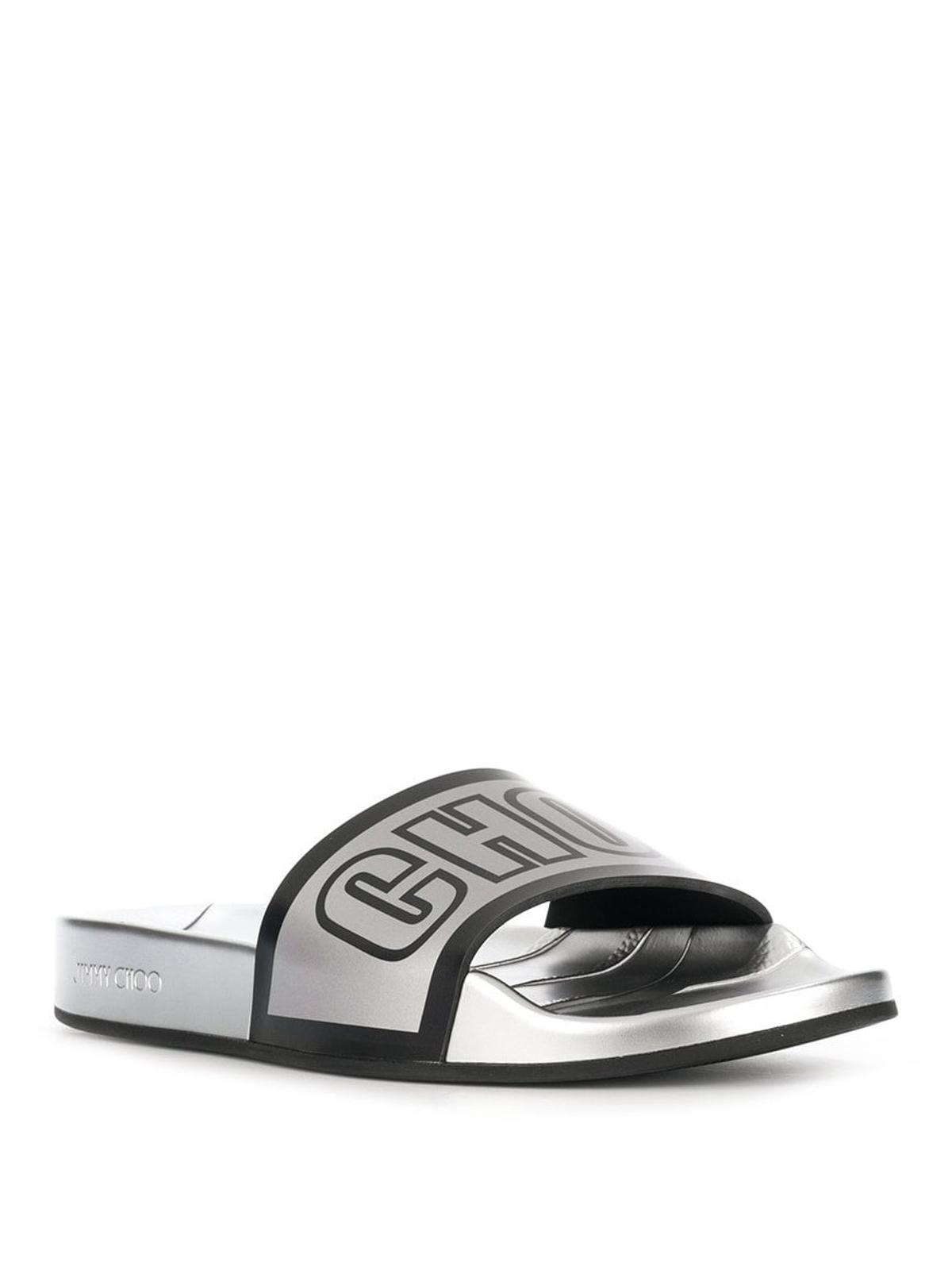 961f7ecadb2 JIMMY CHOO: sandals online - Rey/F logo metallic silver rubber slides