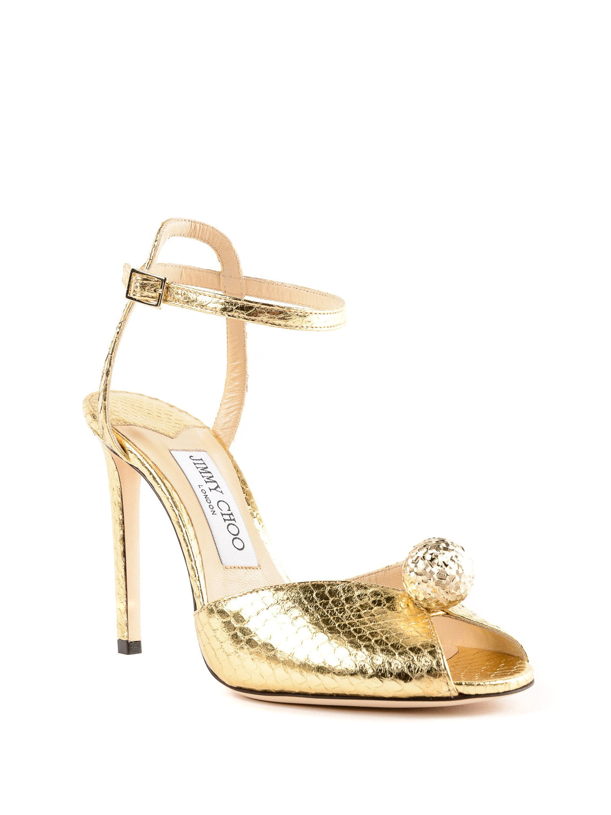 bfebba32d37 Jimmy Choo - Sacora gold elaphe peep toe sandals - sandals - SACORA ...